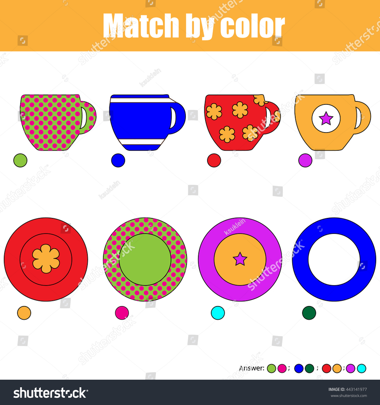 Matching Game Kids Find Right Pair Stock Vector