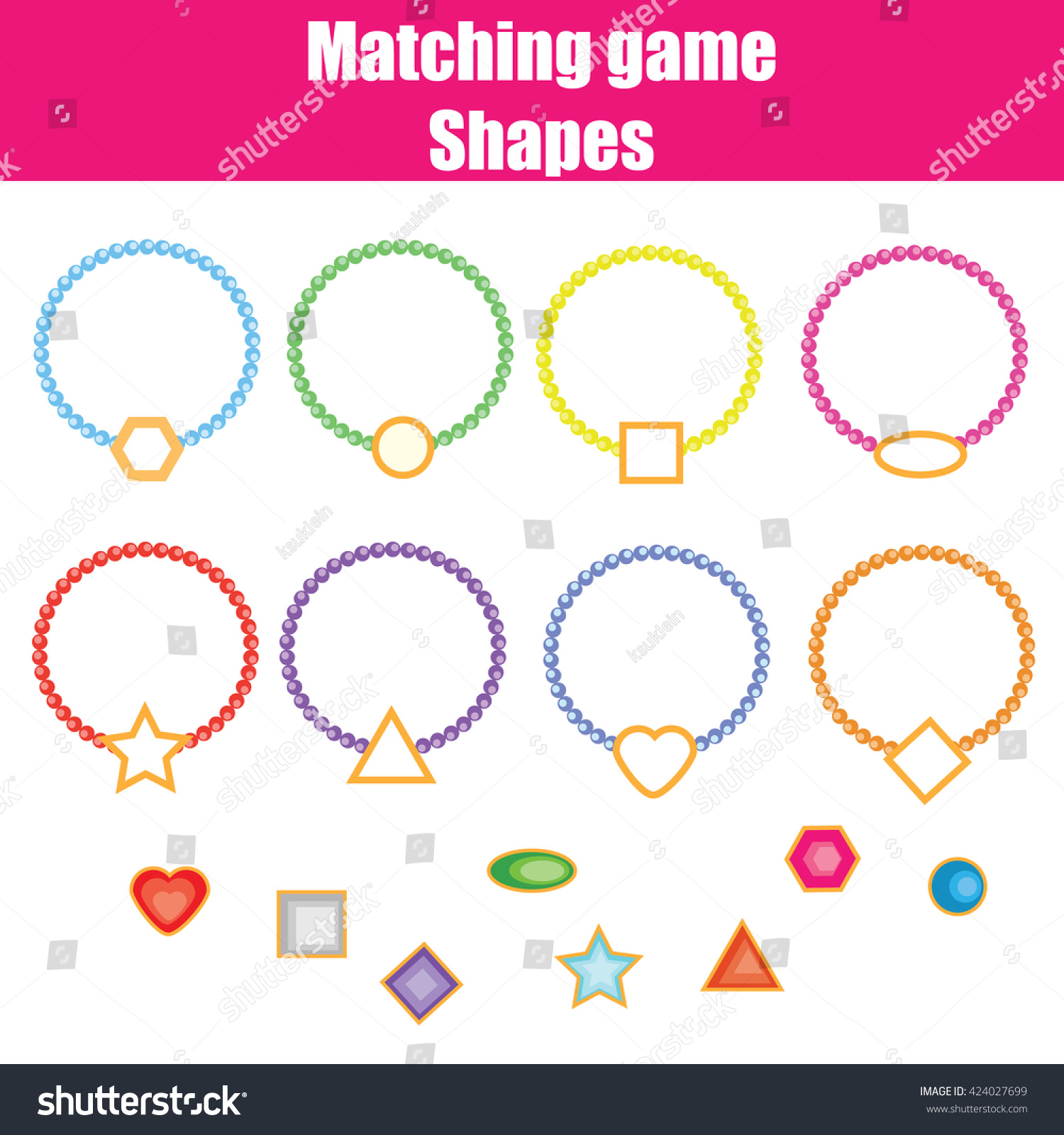 Matching Game Match The Shapes Task Learning Geometry Shapes Theme For Kids Books Worksheets