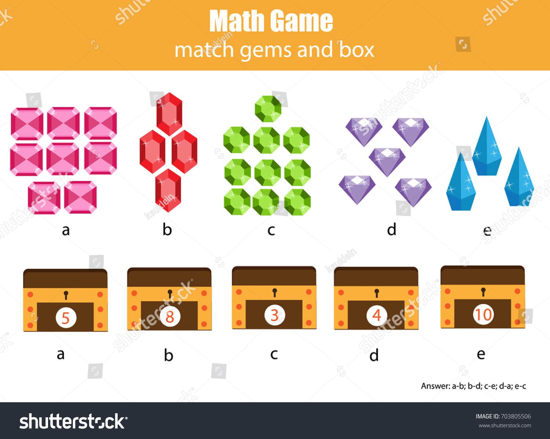 Math Educational Game Children Matching Mathematis Stock