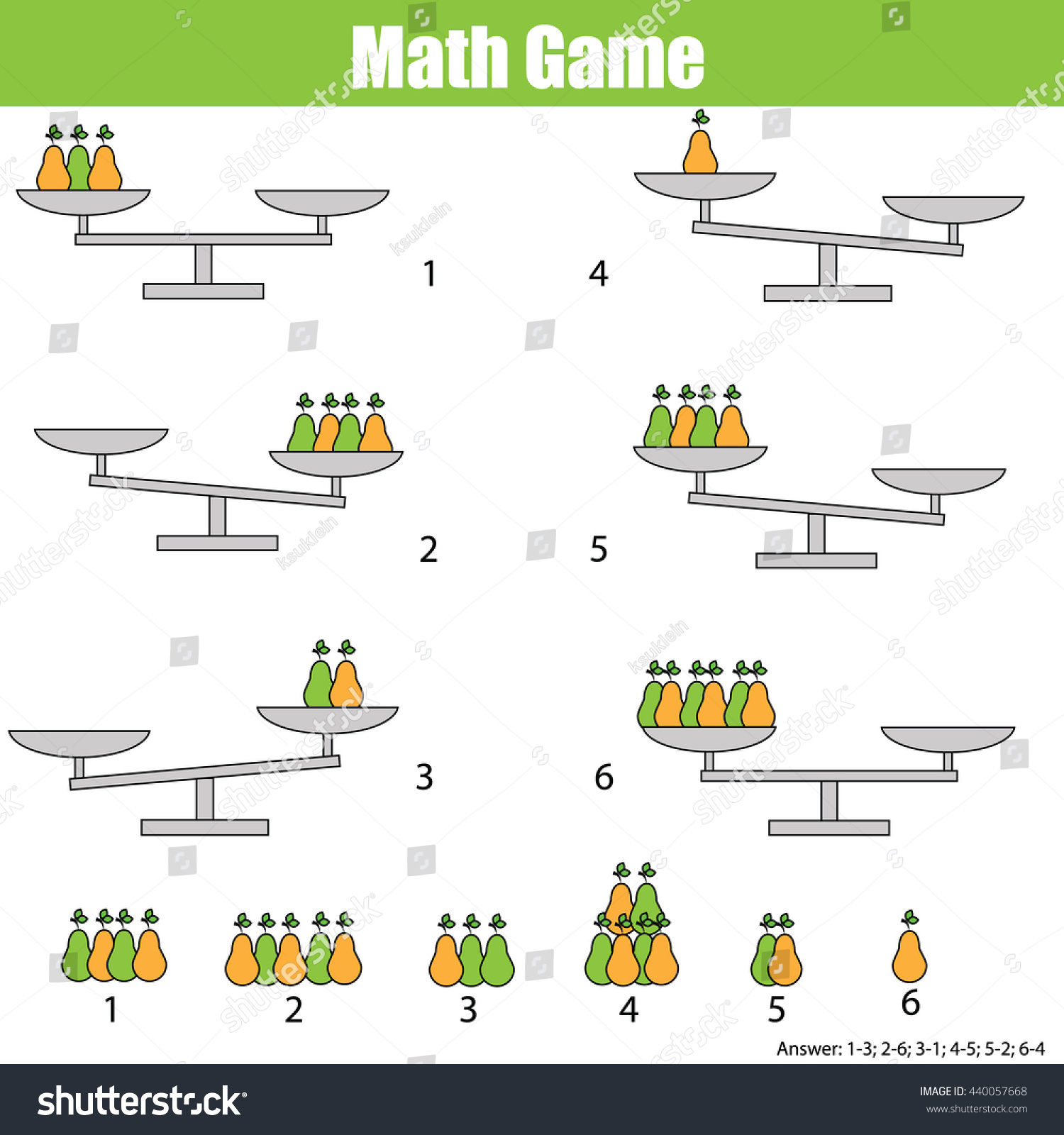 Mathematics Educational Game Children Balance Scale Stock
