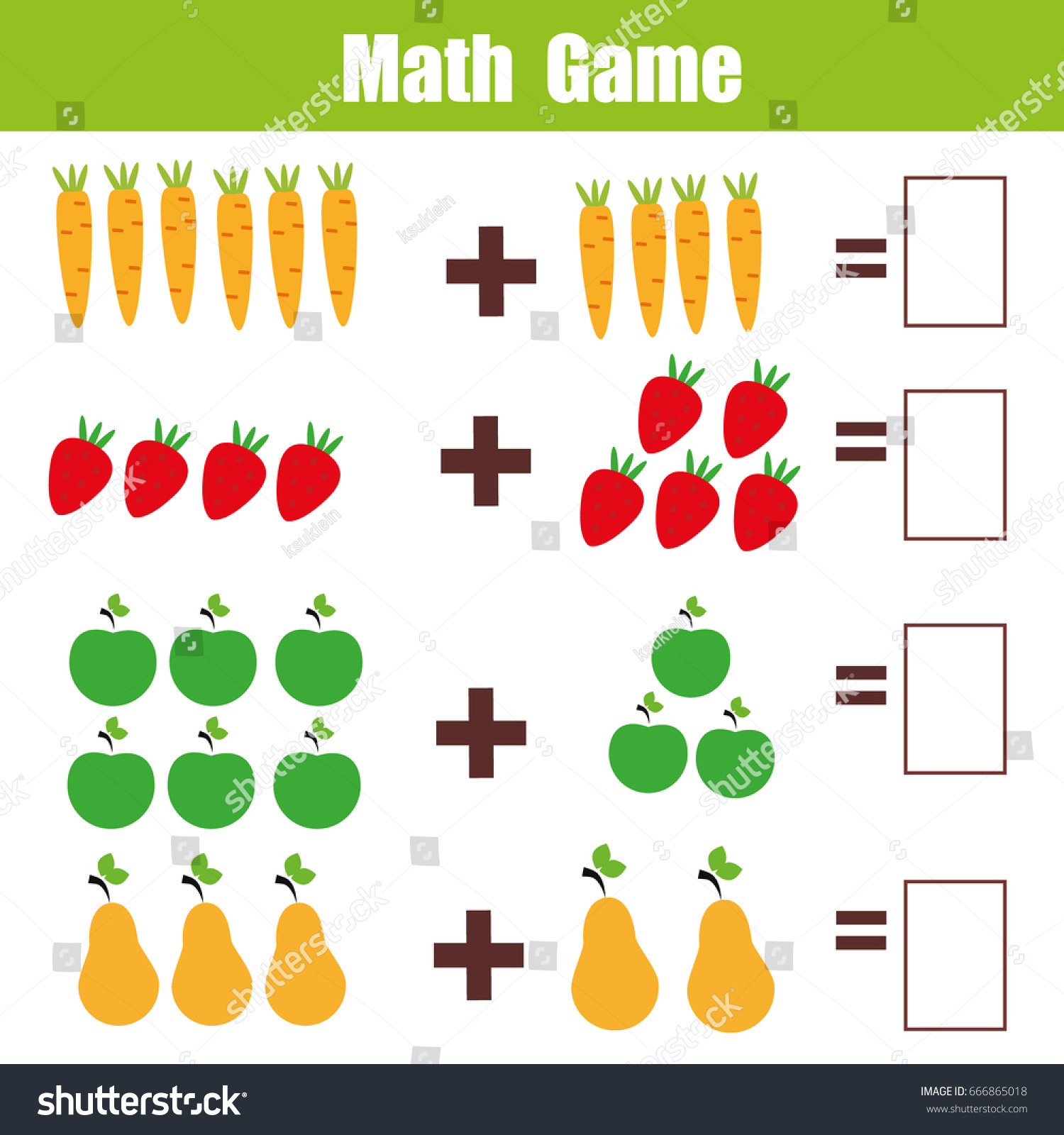 Mathematics Educational Game Children Learning Addition