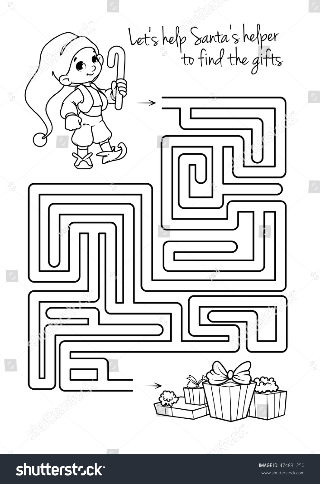 Maze Game Kids Cute Elf Ts Stock Vector