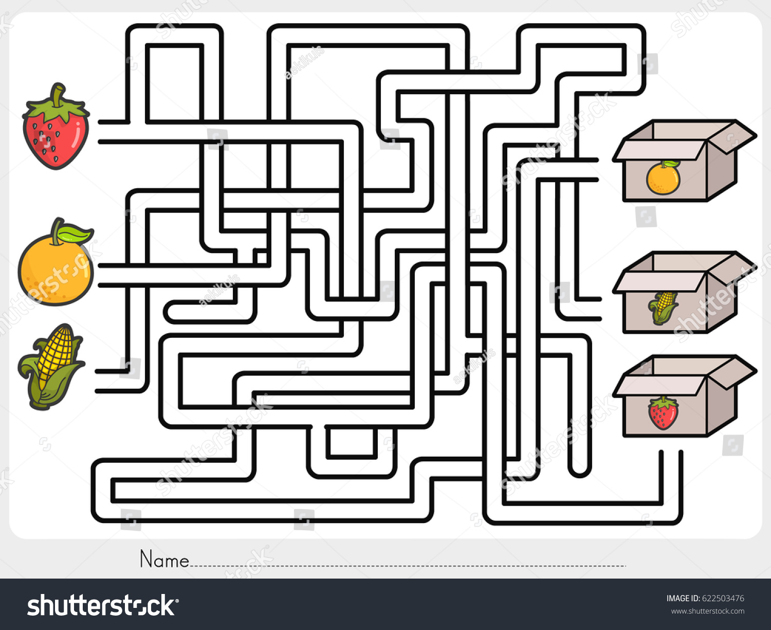 Maze Game Pick Fruits Box Worksheet Stock Vector
