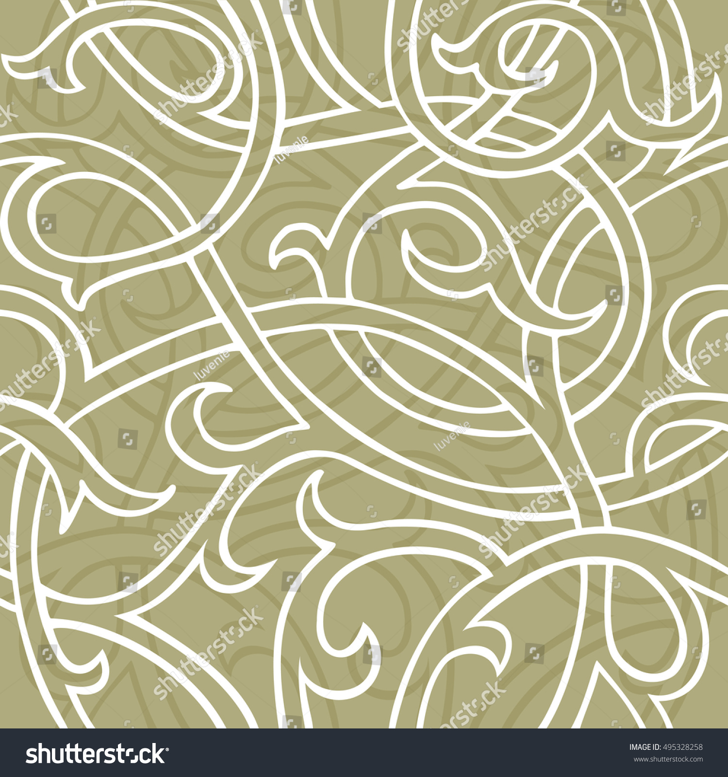 Medieval Seamless Floral Vector Wallpaper Pattern Stock Vector Royalty Free 495328258
