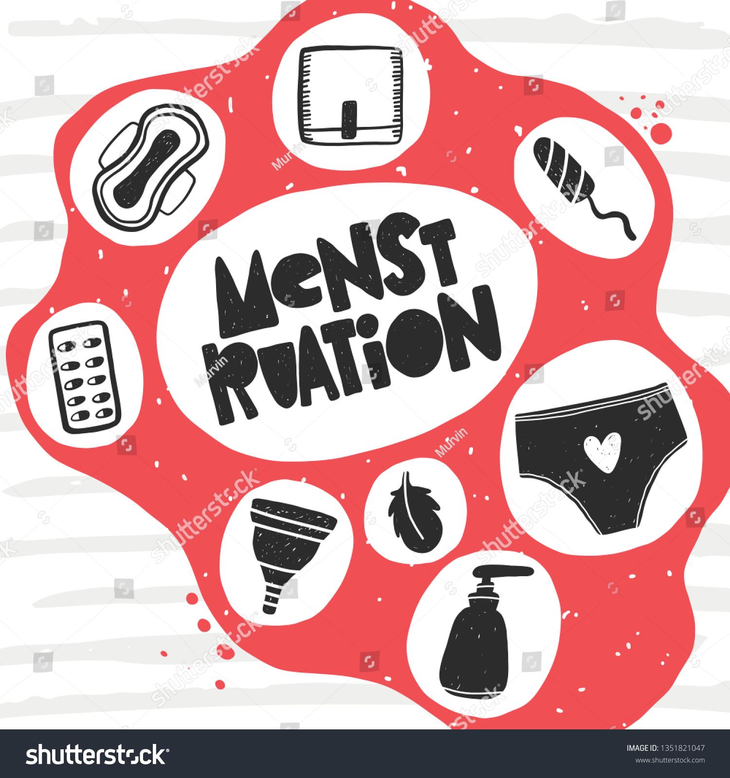Menstruation Card Women Health Hand Drawn Stock Vector Royalty Free 1351821047