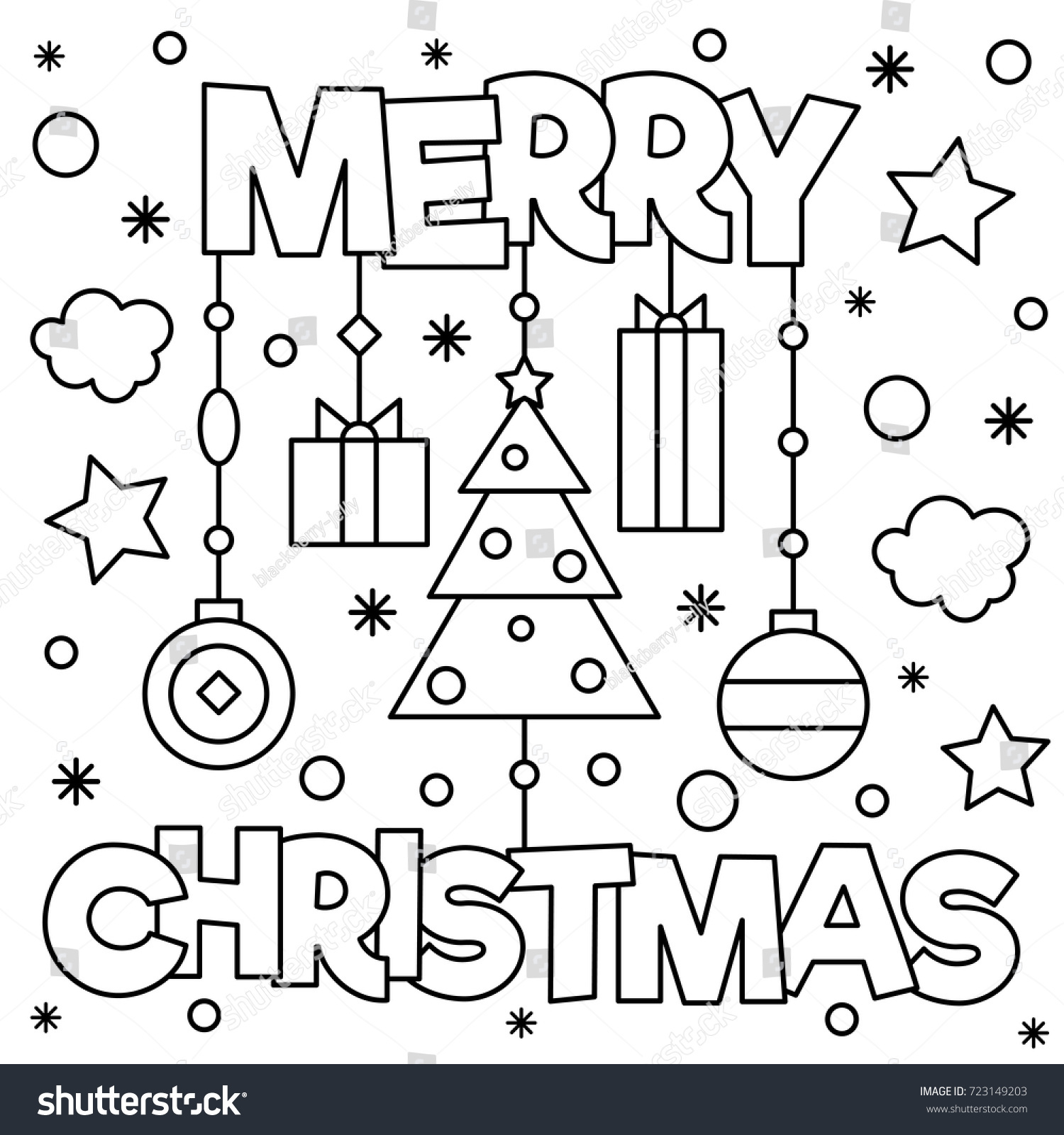 Merry Christmas Coloring Page Vector Illustration Stock