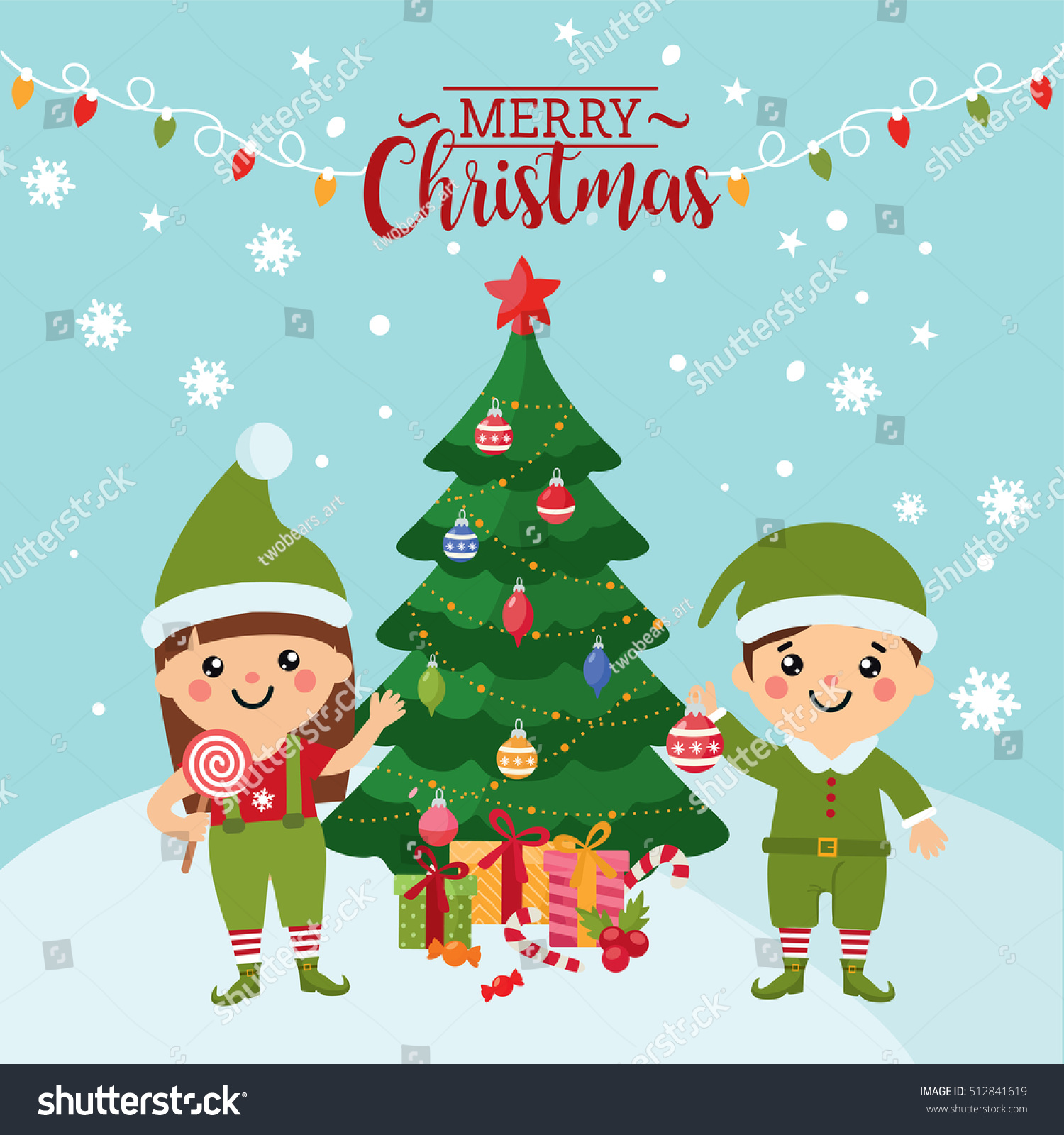 Merry Christmas Greeting Card Cute Kids Stock Vector