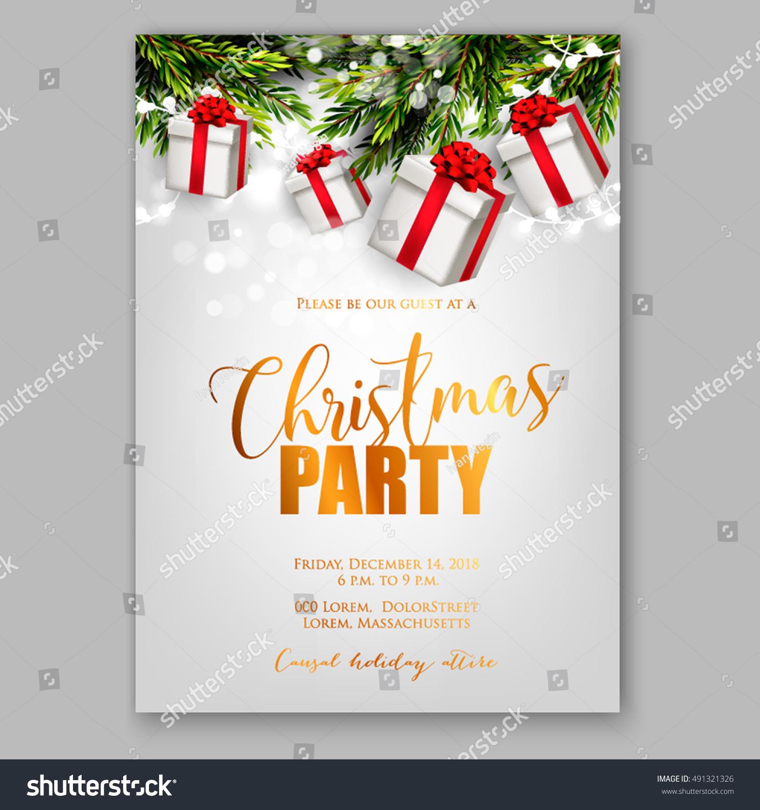 Merry Christmas Party Invitation Happy New Stock Vector
