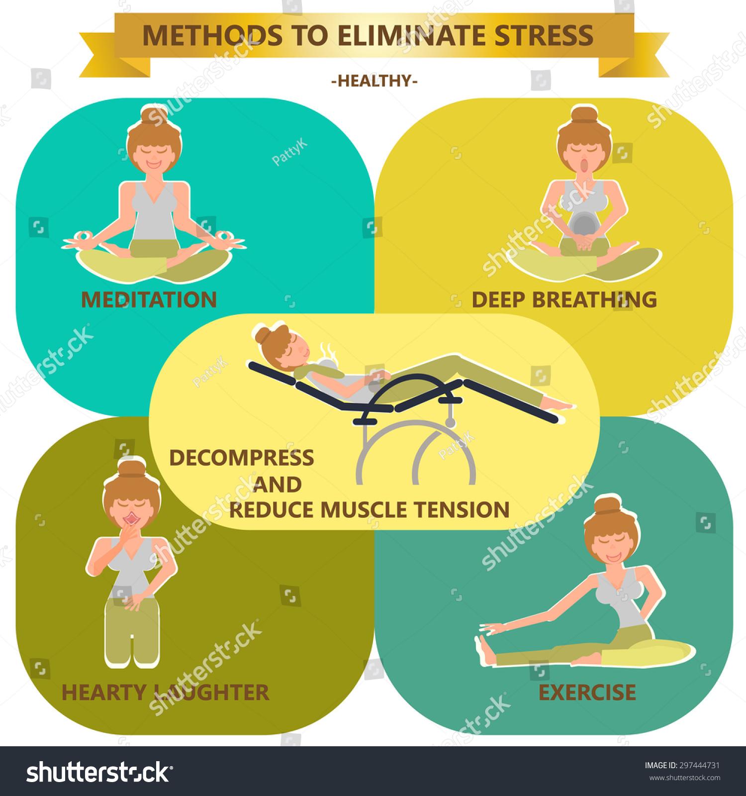 Methods Eliminate Stress Good Healty Good Stock Vector