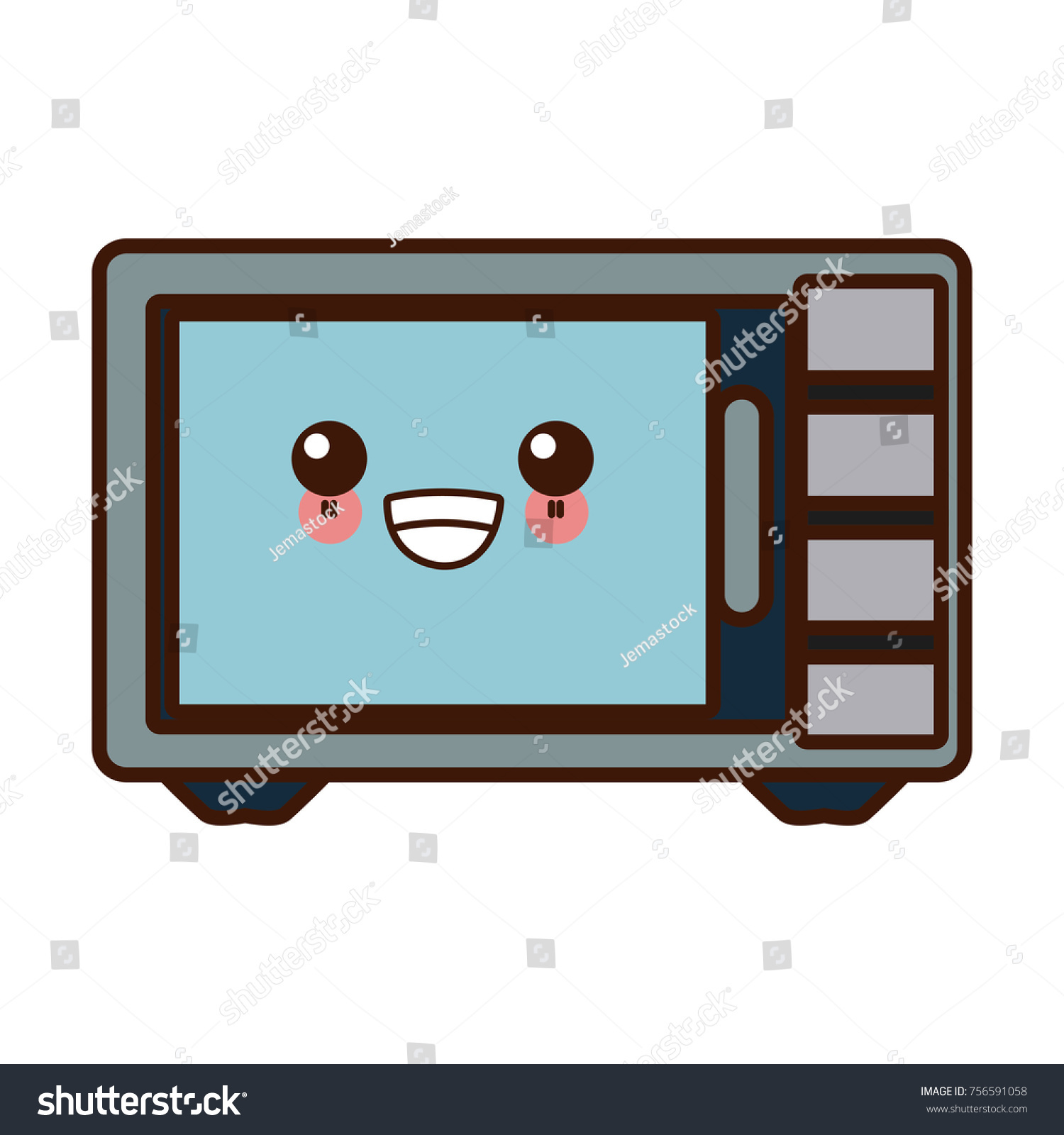 https www shutterstock com image vector microwave kitchen appliance cute kawaii cartoon 756591058