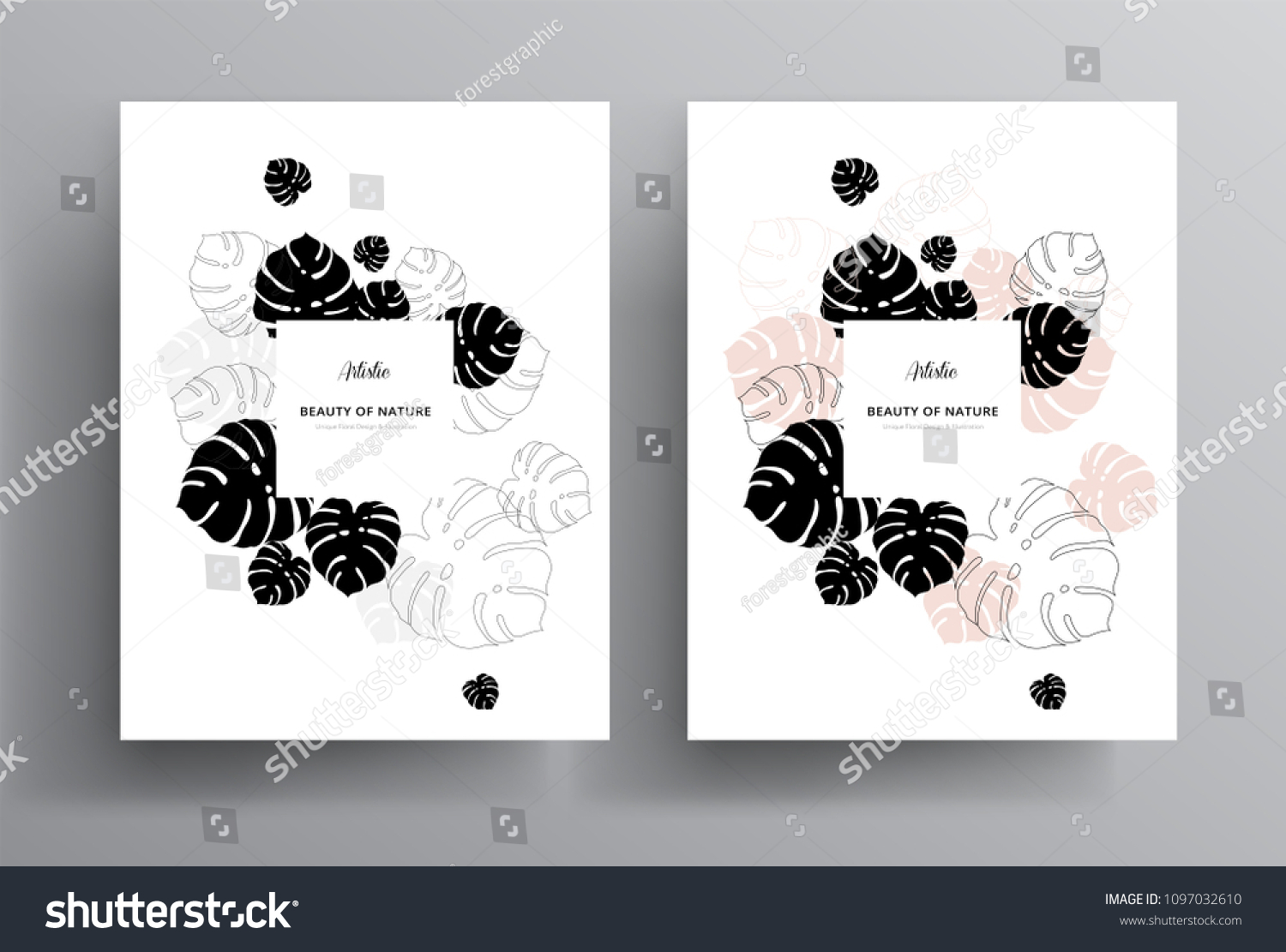 https www shutterstock com image vector minimal floral greeting invitation card template 1097032610