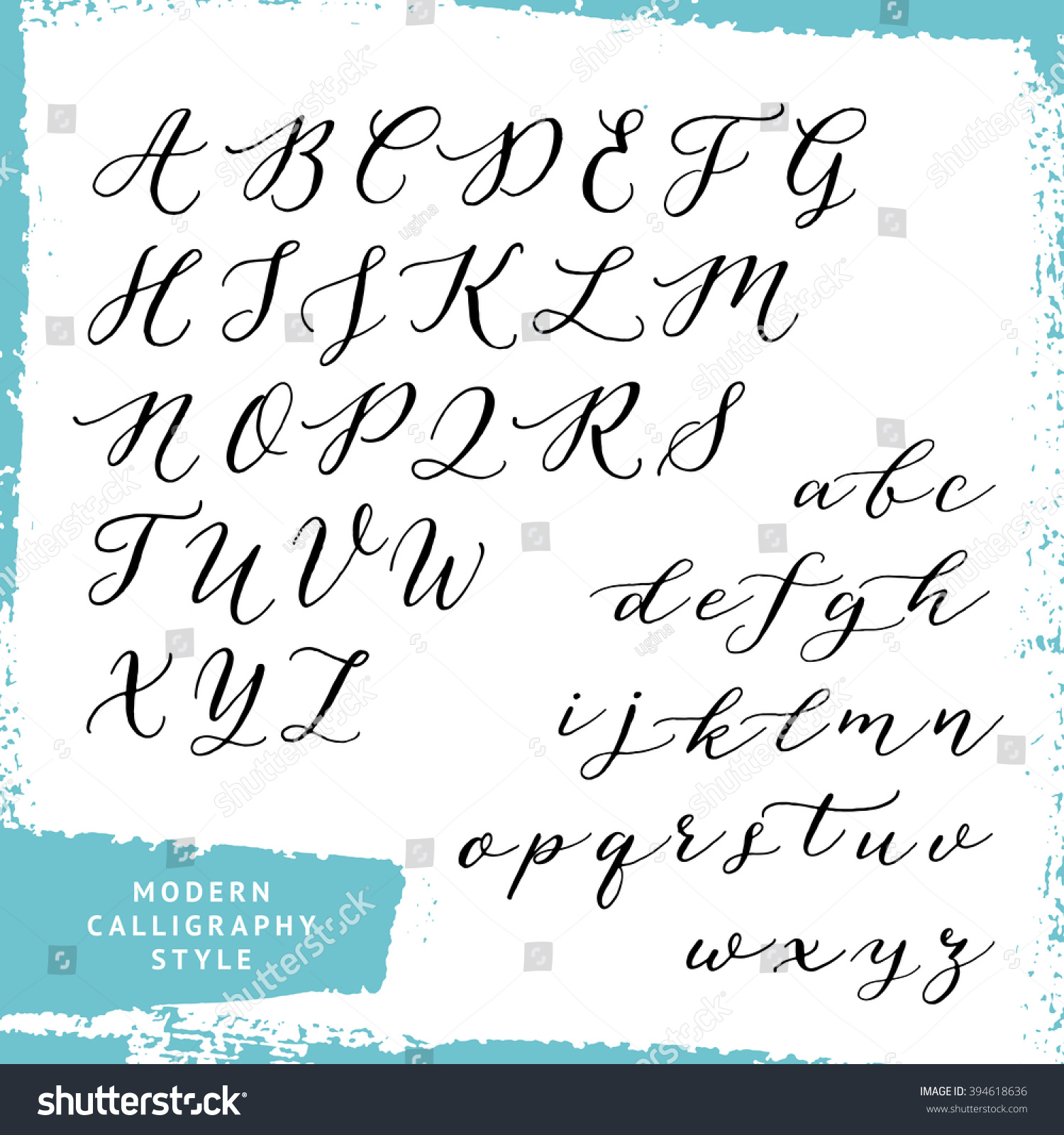Modern Calligraphy Style Handwritten Script Alphabet Stock Vector