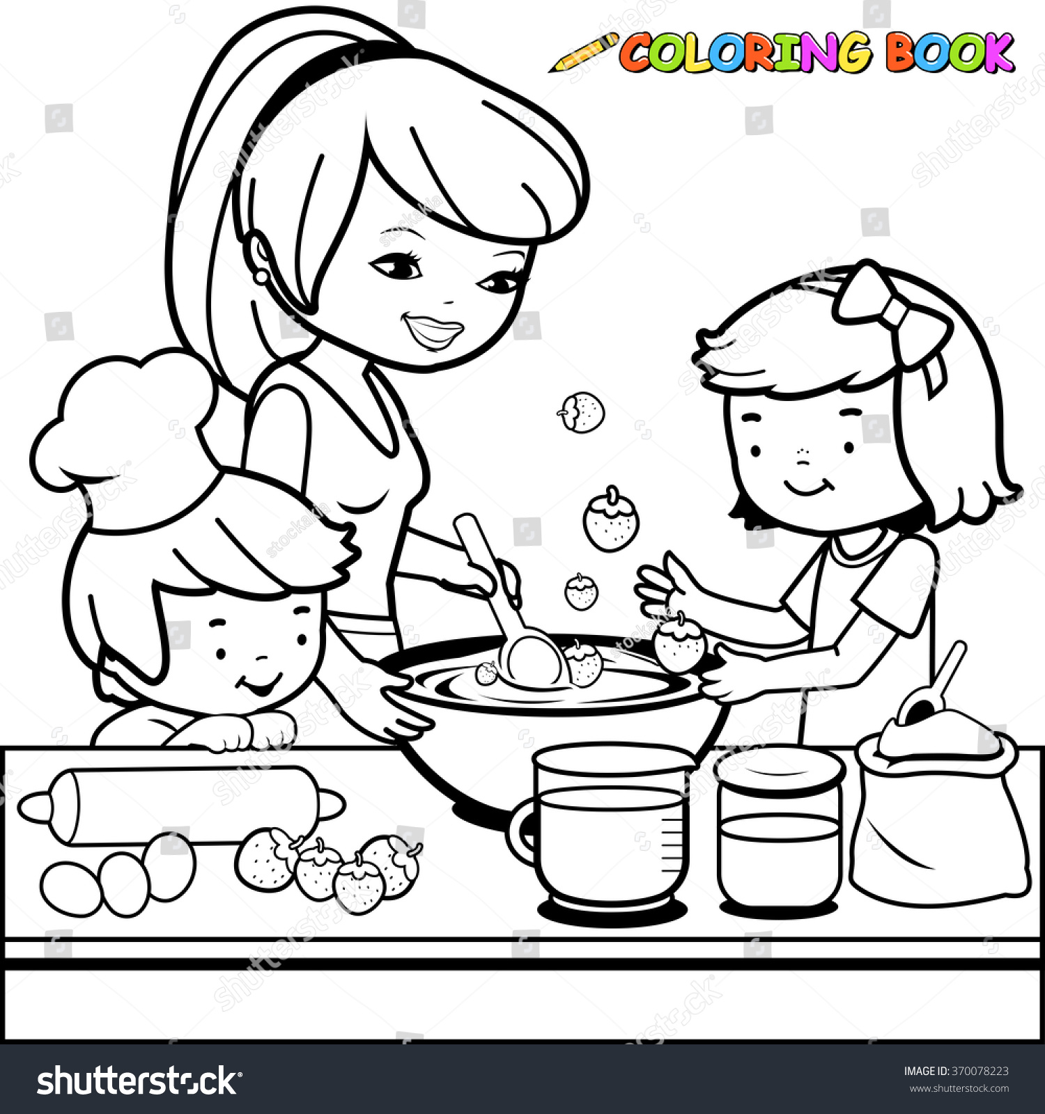 Cooking Utensils Drawing For Kids : mother and children cooking in the kitchen coloring book page stock