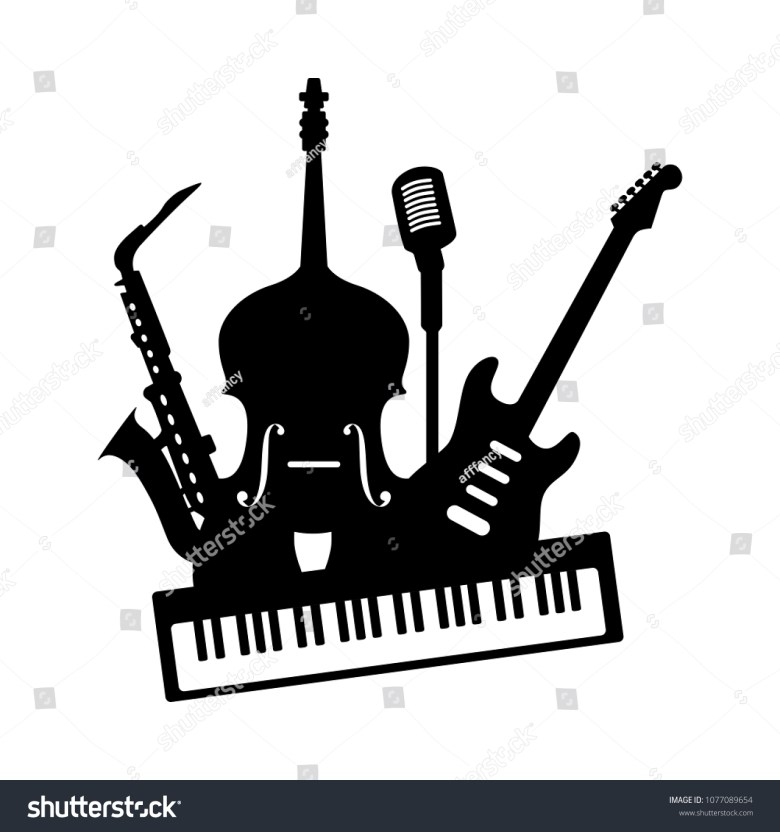 music jazz band icon group black stock-vektorgrafik (lizenzfrei