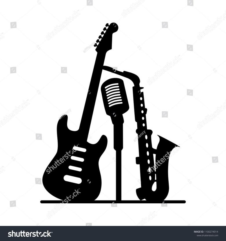 music jazz band icon group black stock-vektorgrafik (lizenzfrei