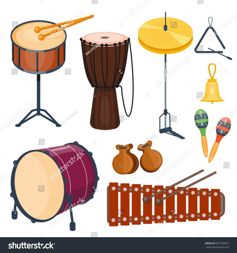 musical drum wood rhythm music instrument stock vector (royalty free