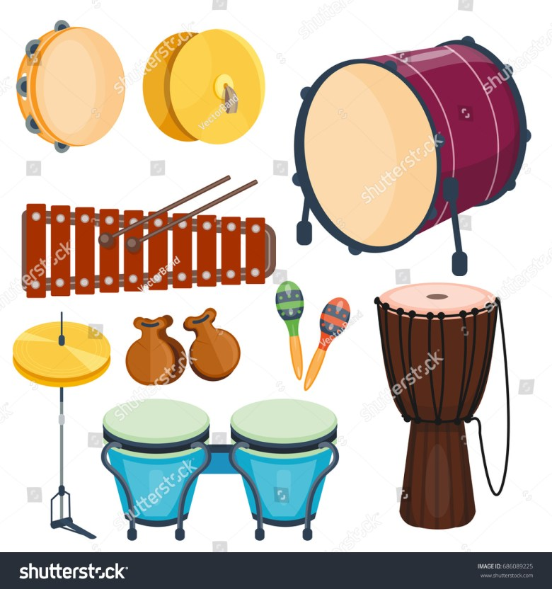 musical drum wood rhythm music instrument stock-vektorgrafik