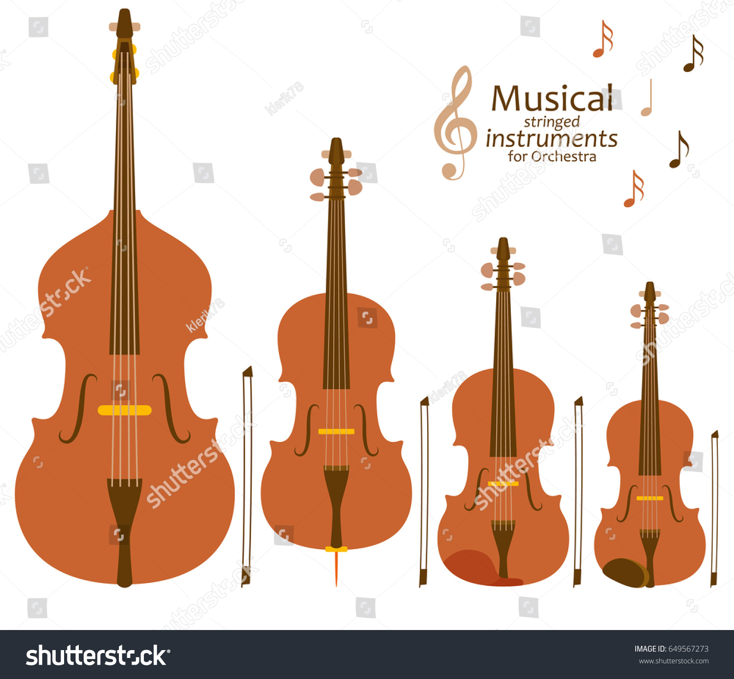 Musical Stringed Instruments Orchestra Vector Illustration
