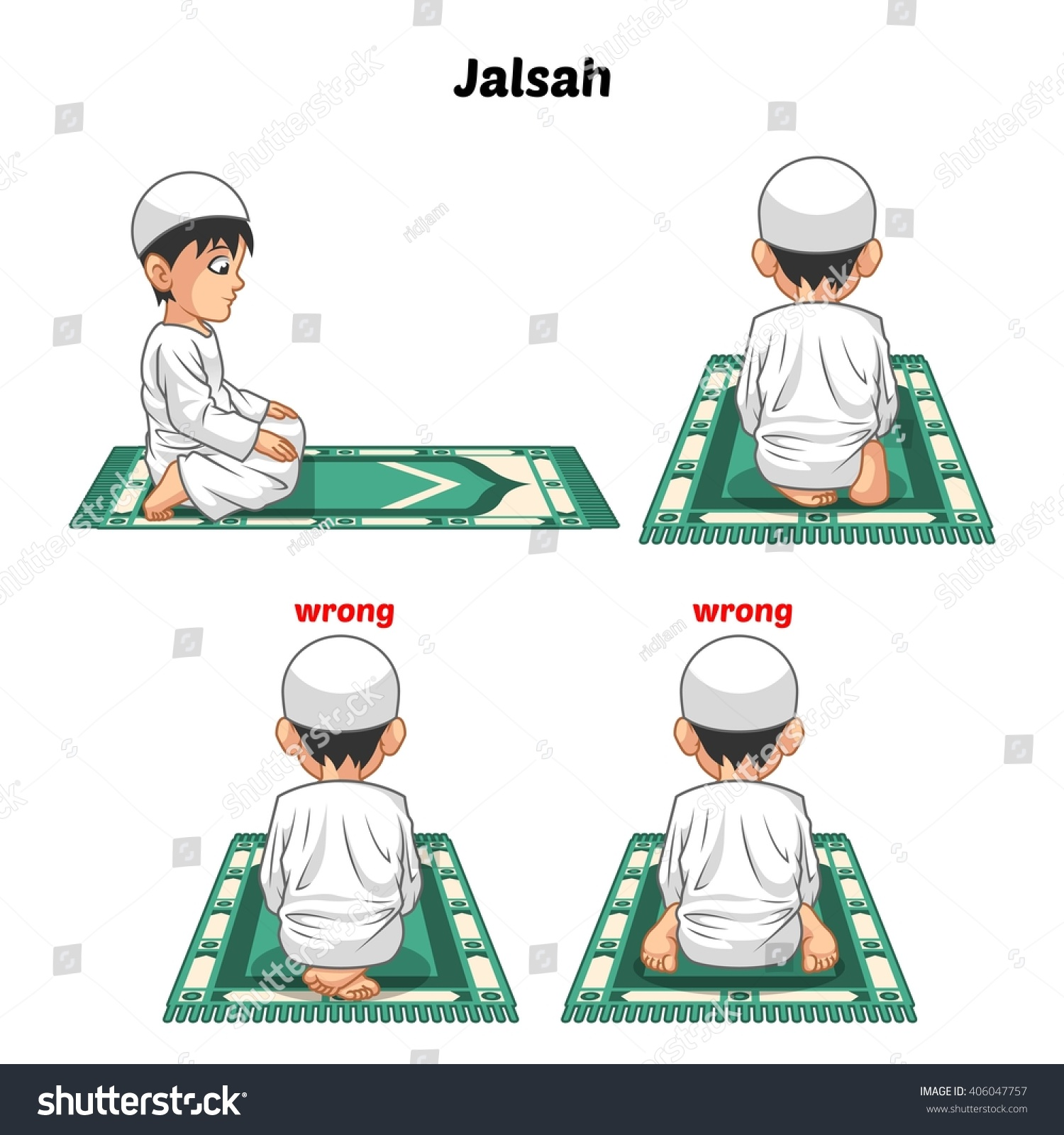 Muslim Prayer Position Guide Step By Stock Vector