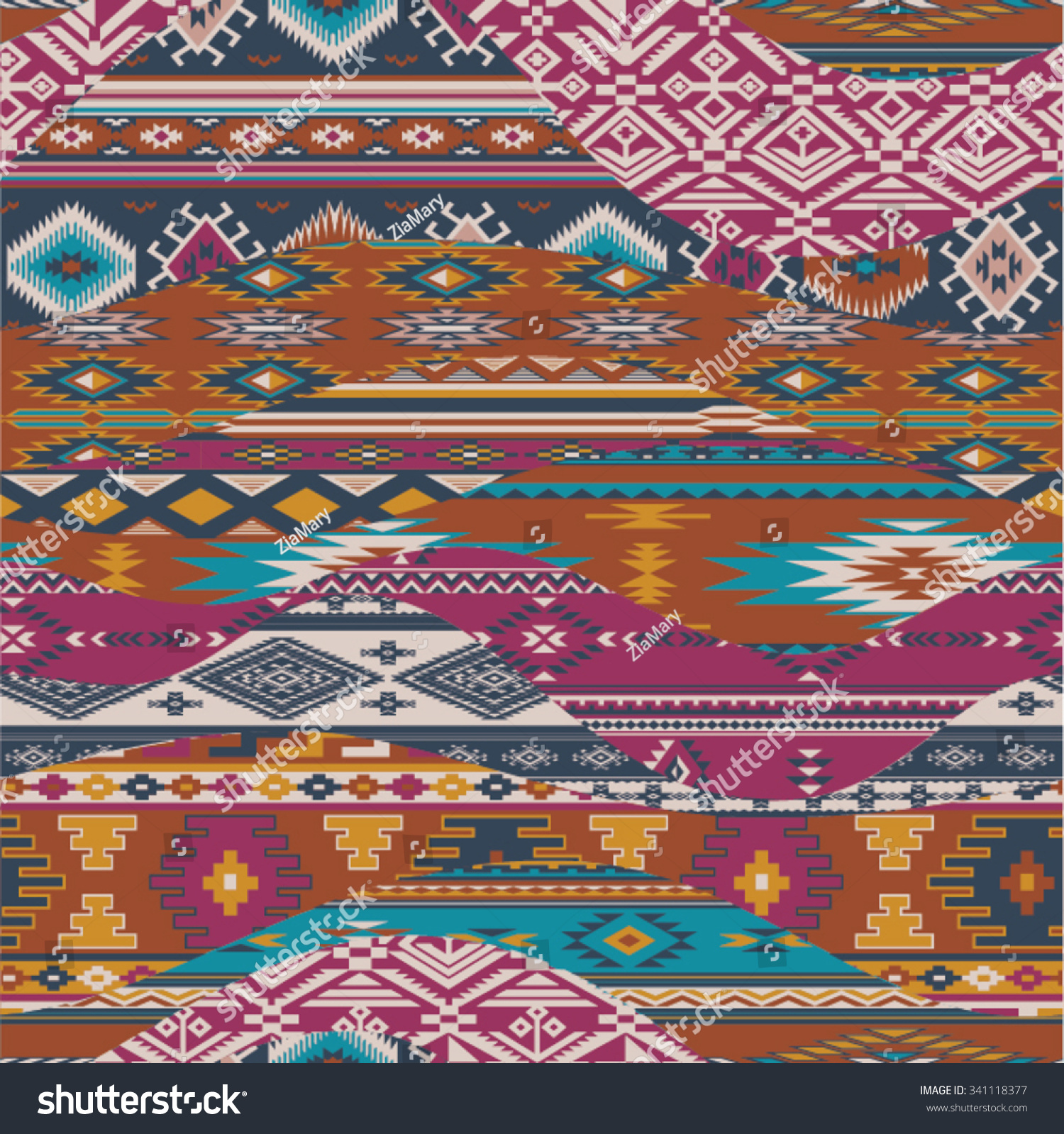 Native American Waves Patchwork Vector Seamless Patterns