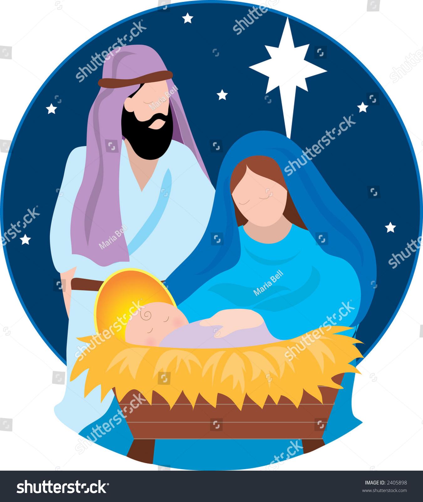Nativity Scene Maryjoseph Baby Jesus Stock Vector Royalty Free 2405898