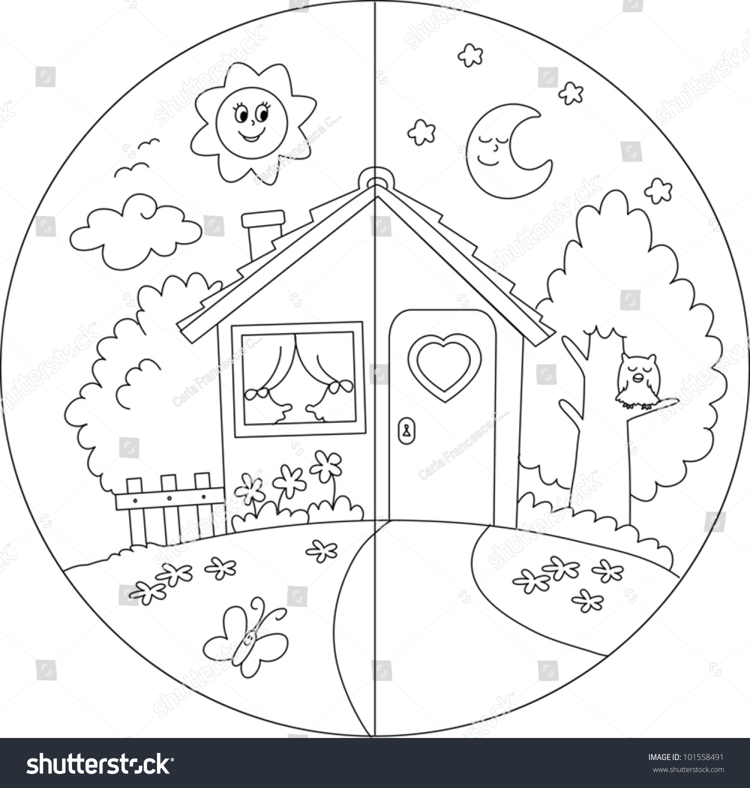 Night Day View Cartoon Country House Stock Vector