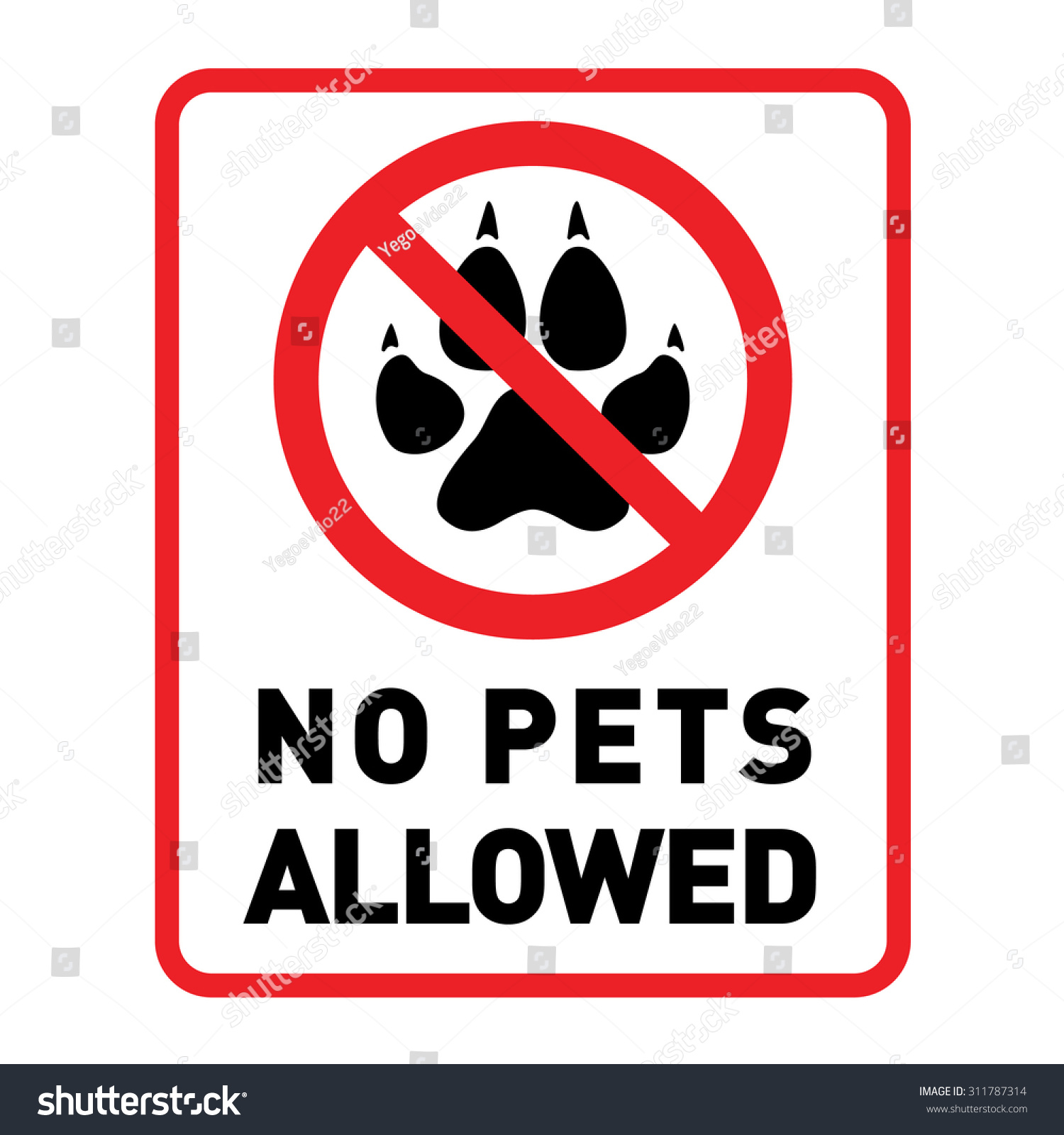 No Pets Allowed With Pets No Access Vector Sign