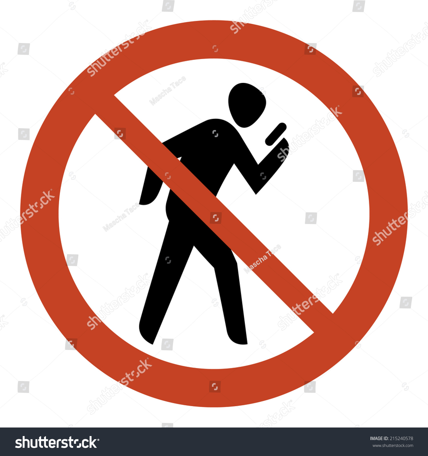 No Texting While Walking Round Sign Stock Vector