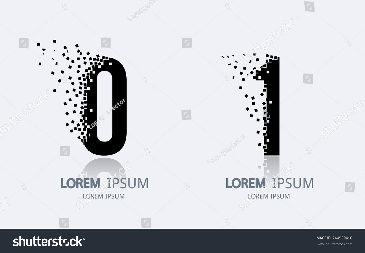 number 0 and 1 logo vector logotype design