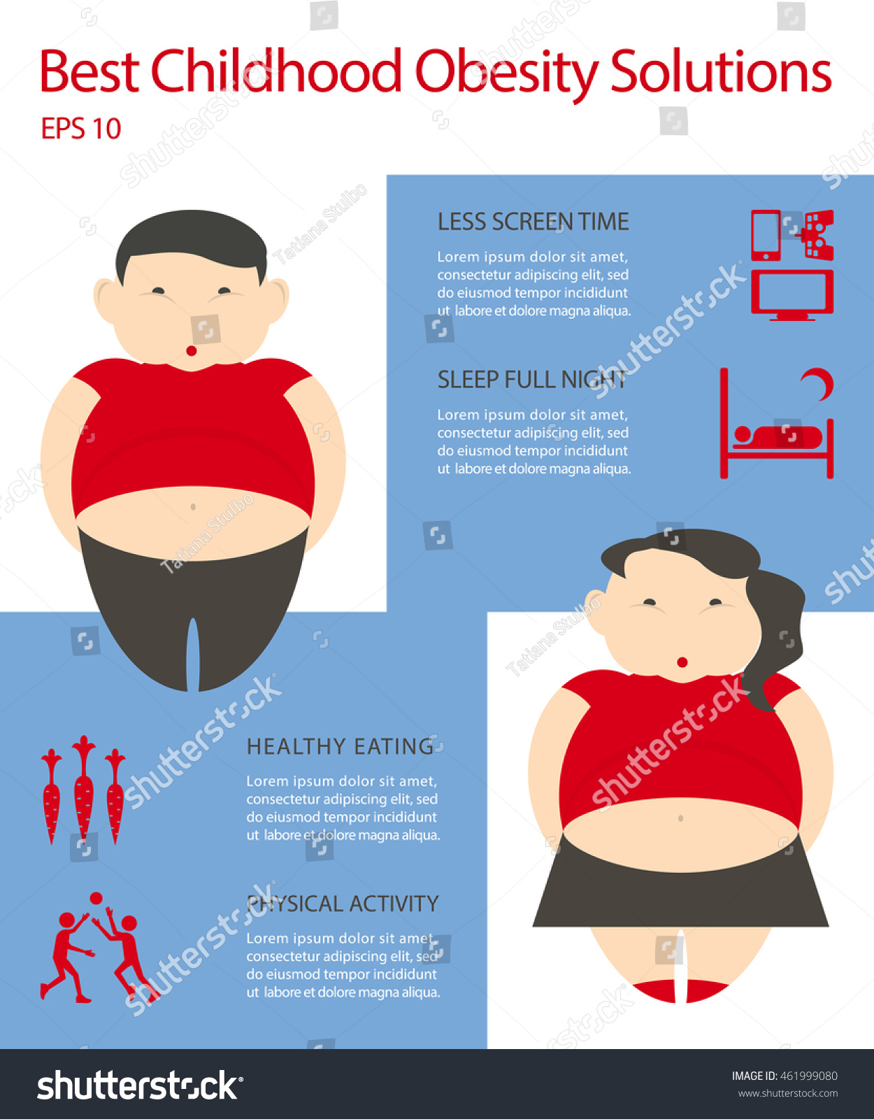 Obesity Infographic Template Bad Habits Children Stock Vector