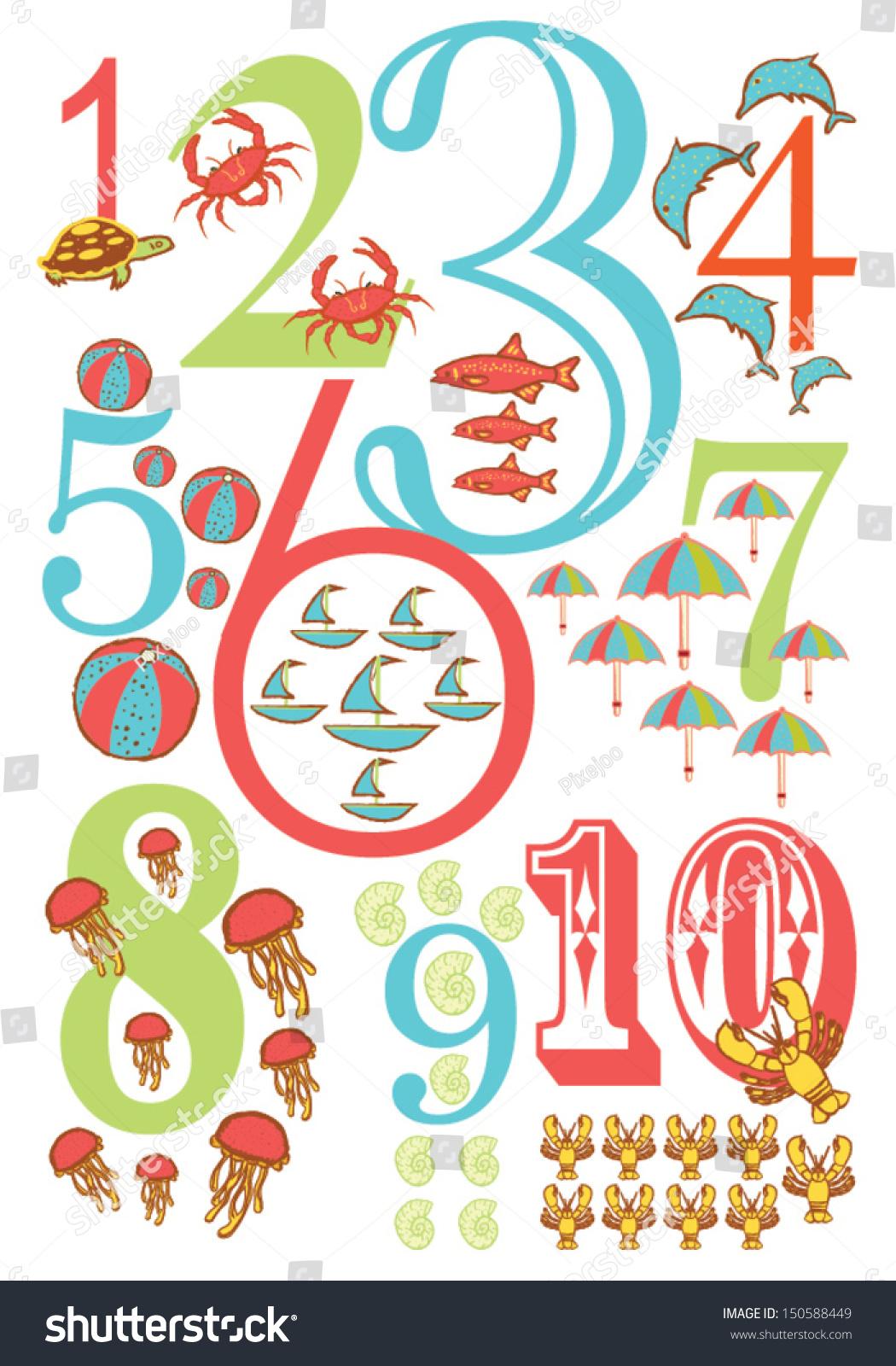 Ocean Theme Numbers Poster Kids Vector Stock Vector