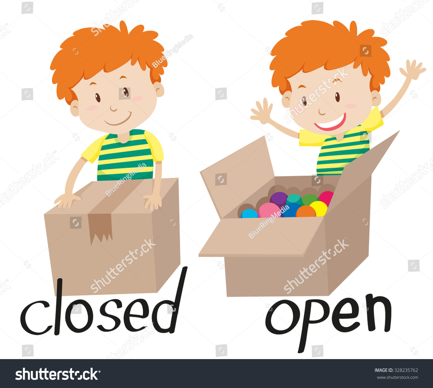 Opposite Adjective Closed Opened Illustration Stock Vector
