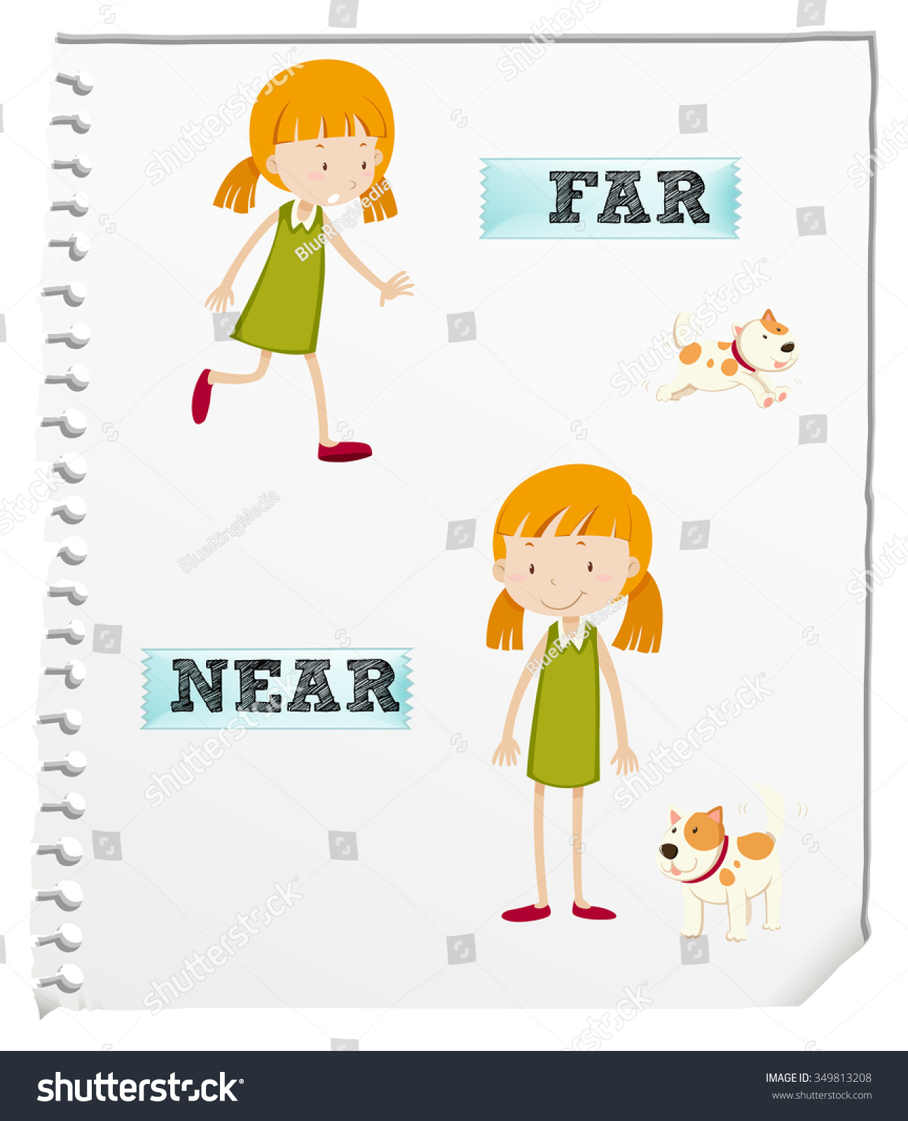 Opposite Adjectives Far Near Illustration Stock Vector