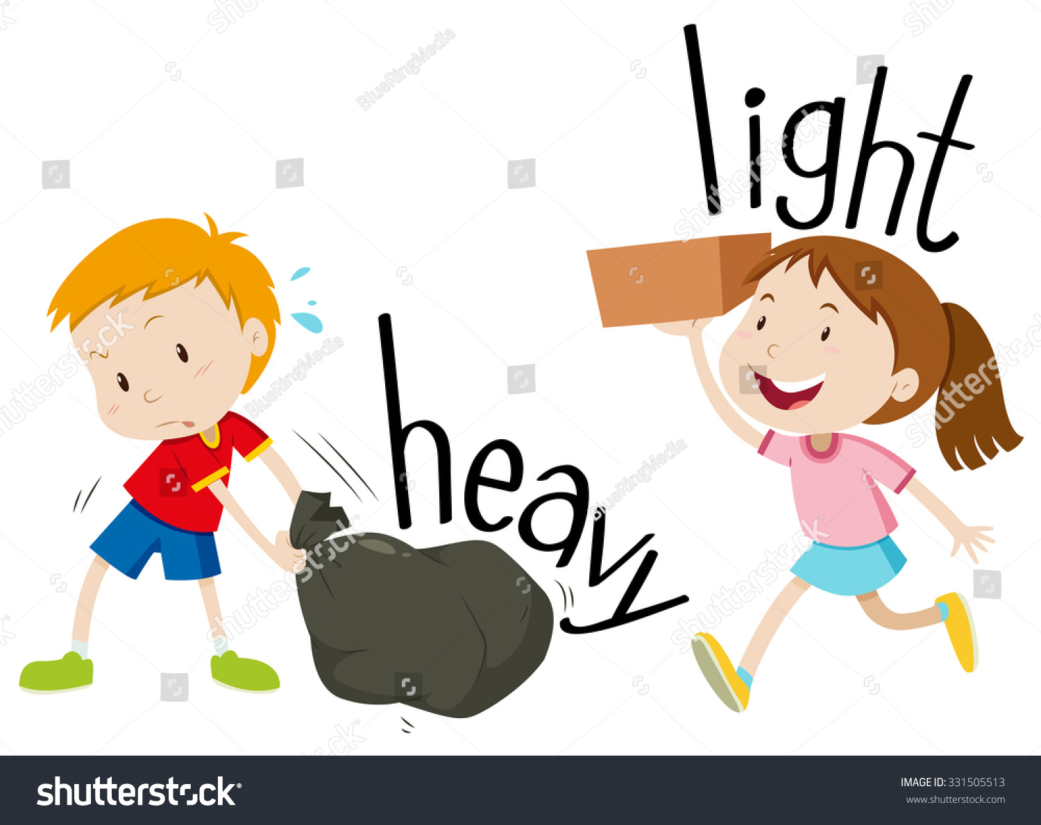 Opposite Adjectives Heavy Light Illustration Stock Vector
