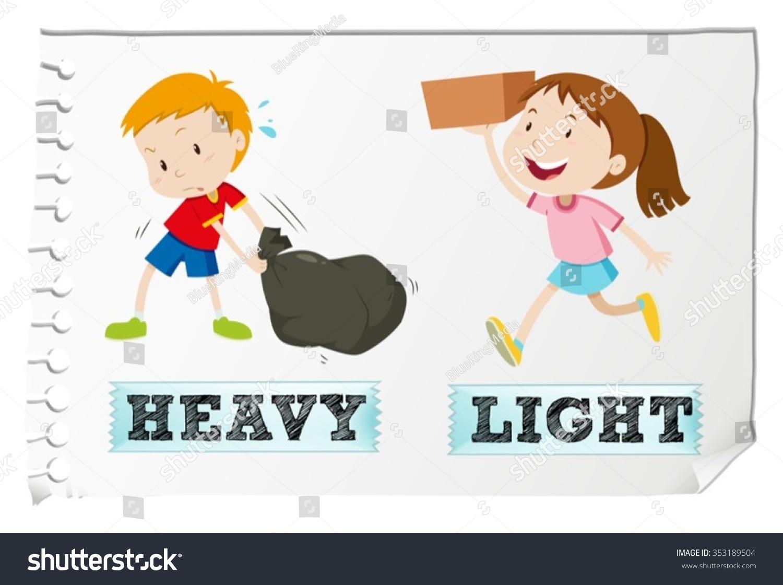 Opposite Adjectives Heavy Light Illustration Stock Vector