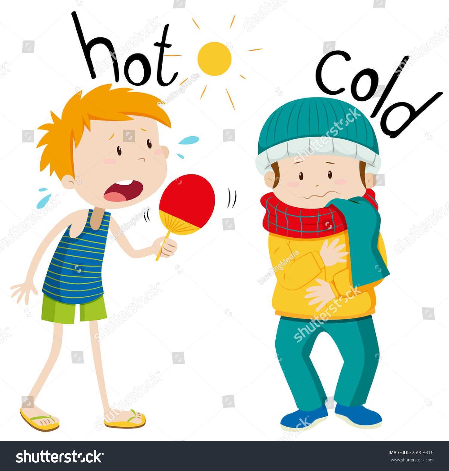 Opposite Adjectives Hot Cold Illustration Stock Vector