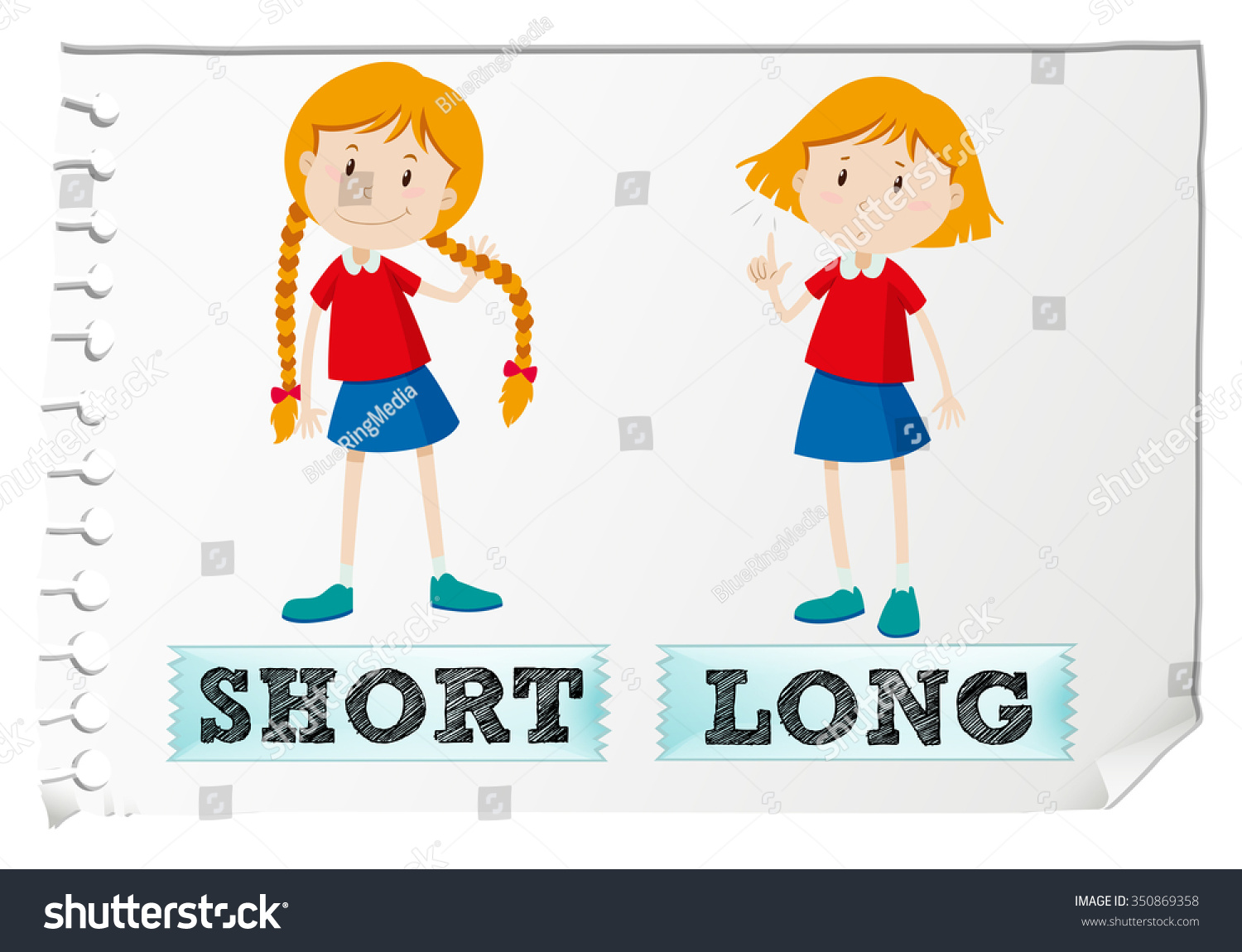 Opposite Adjectives Short Long Illustration Stock Vector