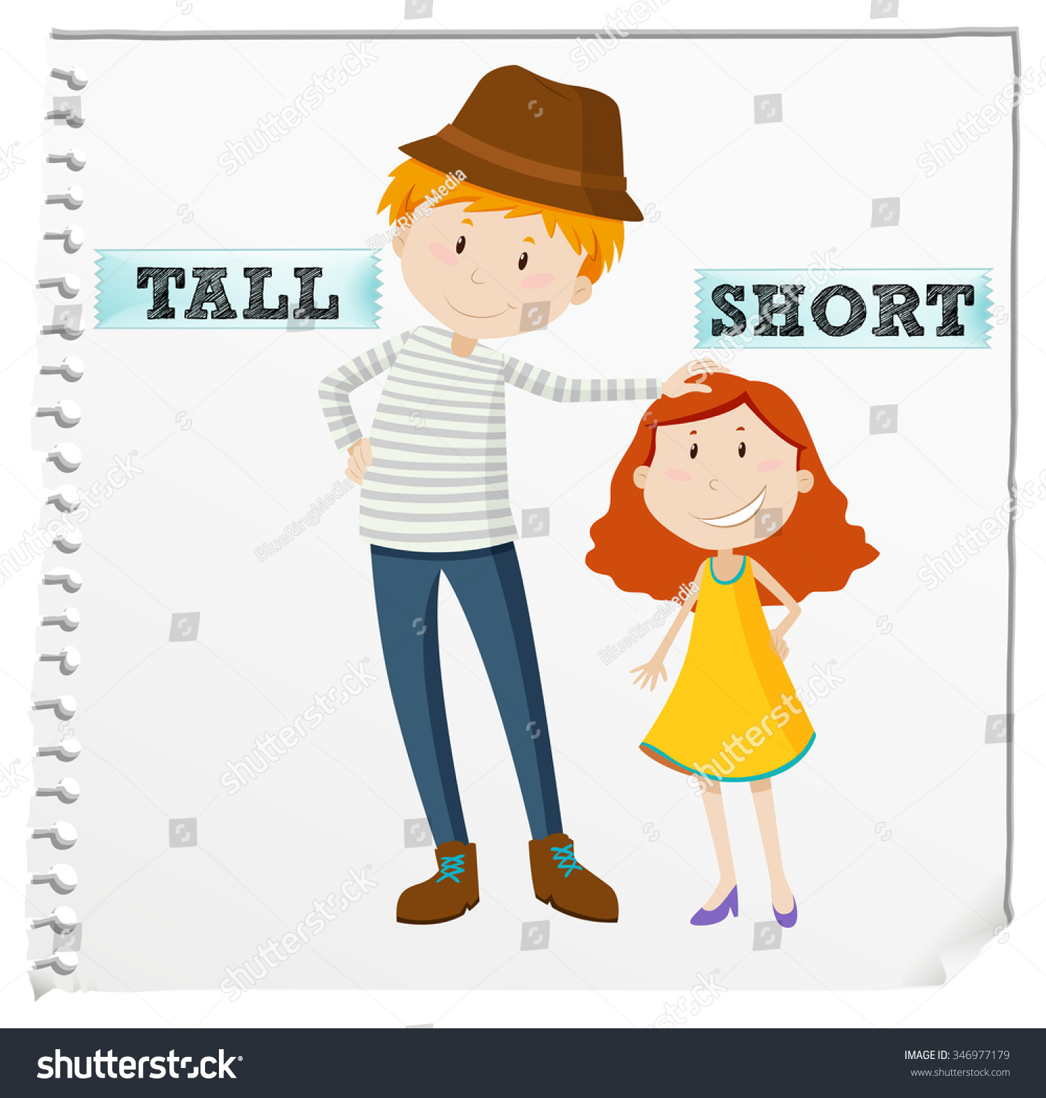 Opposite Adjectives Tall Short Illustration Stock Vector