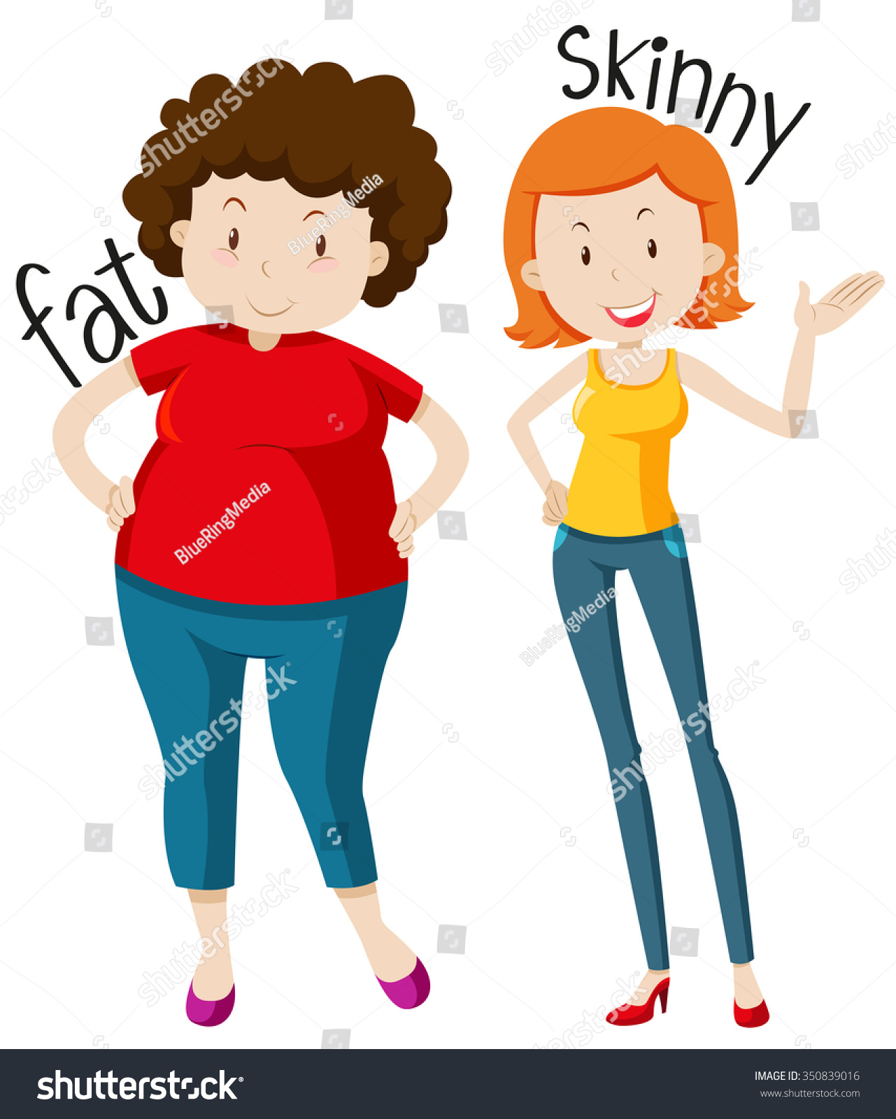 Opposite Adjectives Fat Skinny Illustration Stock Vector
