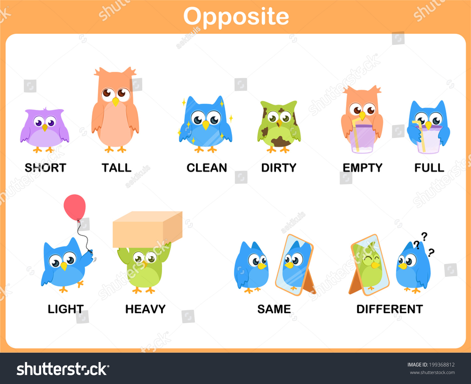 Opposite Word Preschool Short Tall Clean Stock Vector