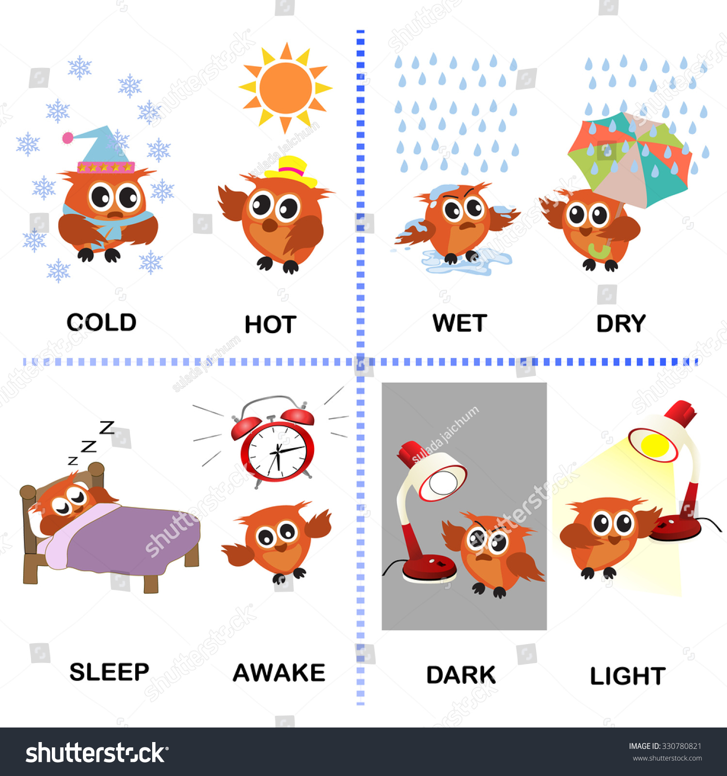 Opposite Word Vector Background Preschool Cold Stock