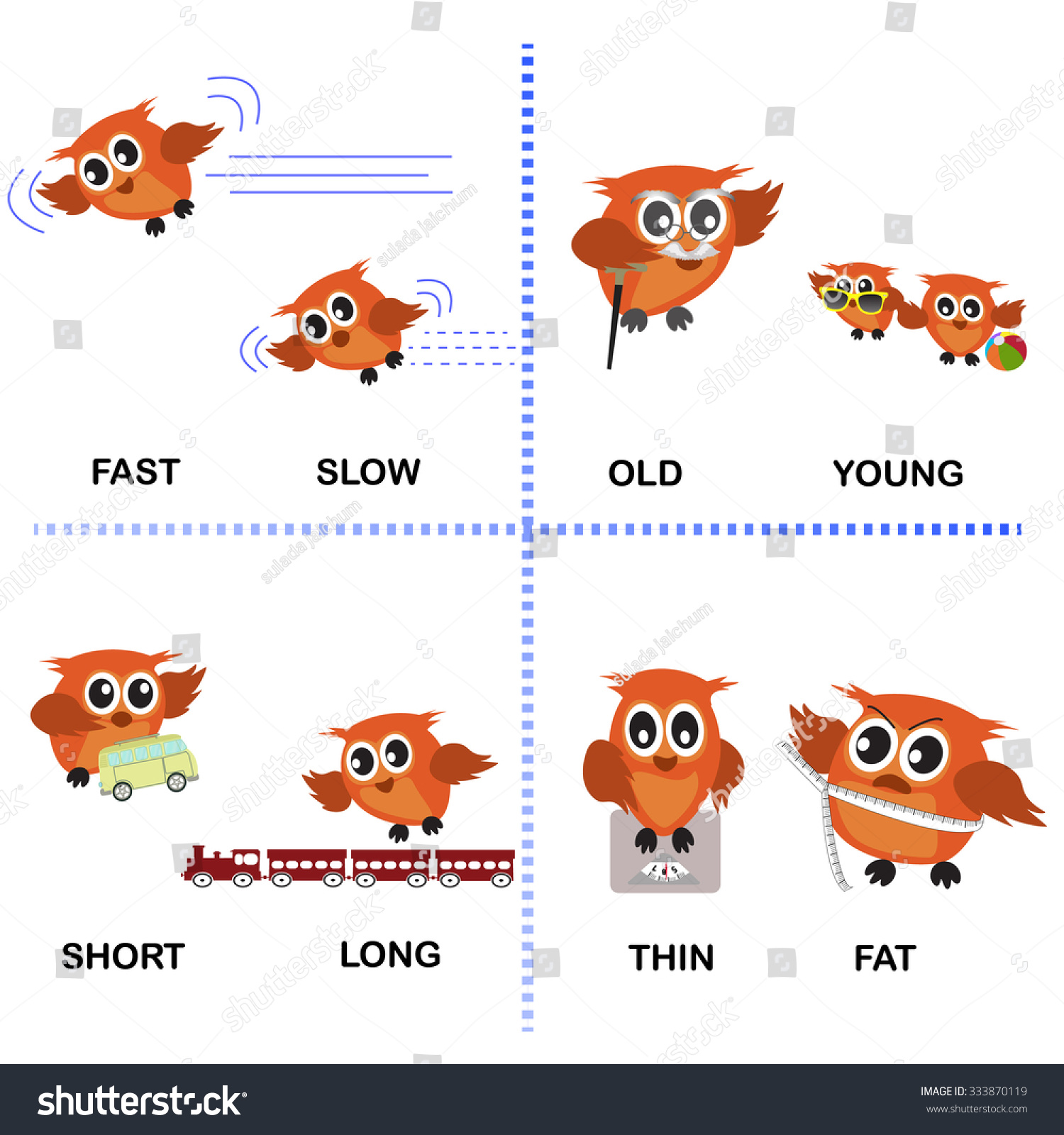 Opposite Word Vector Background Preschool Fast Stock