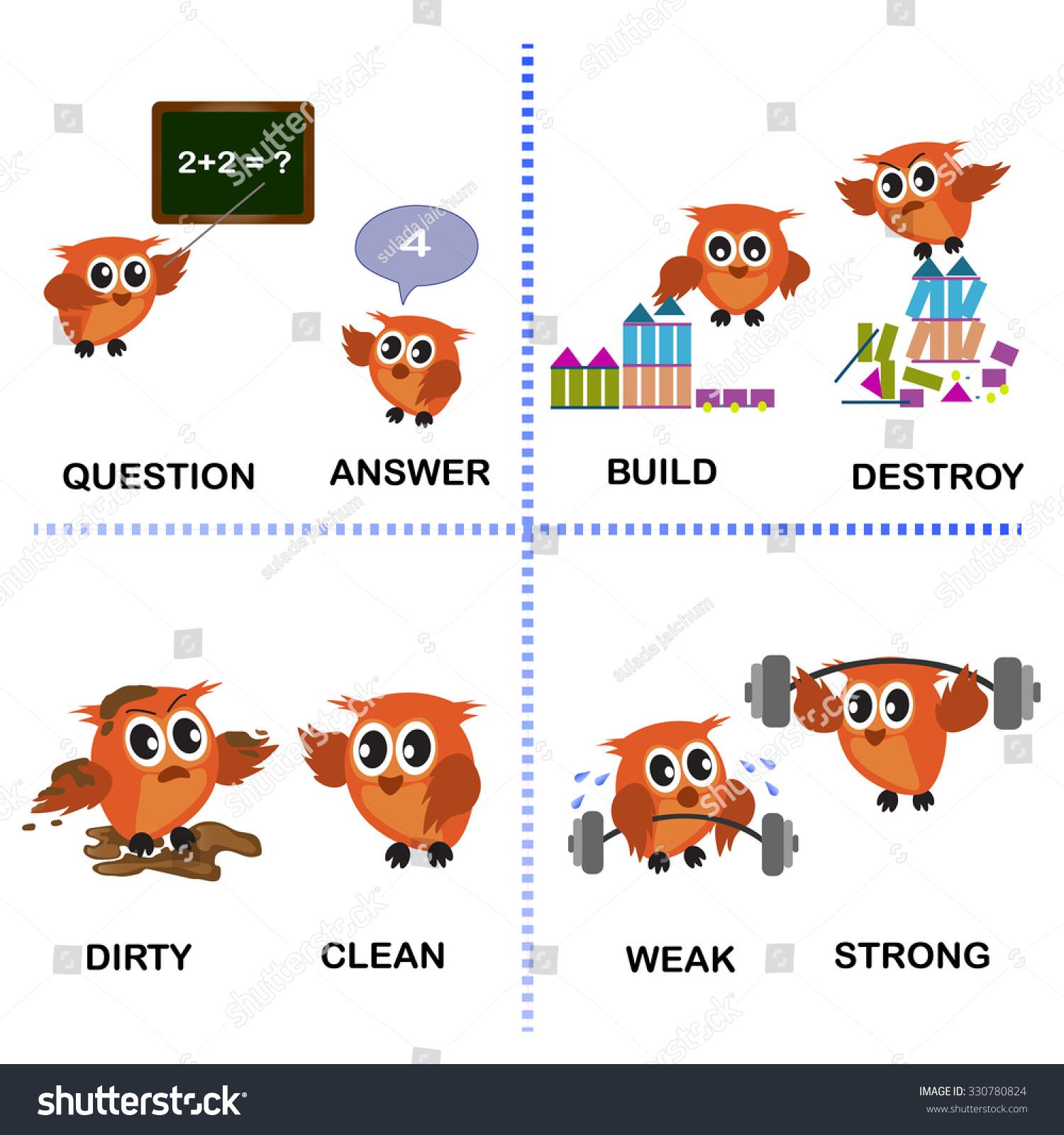 Opposite Word Vector Background Preschool Question Stock