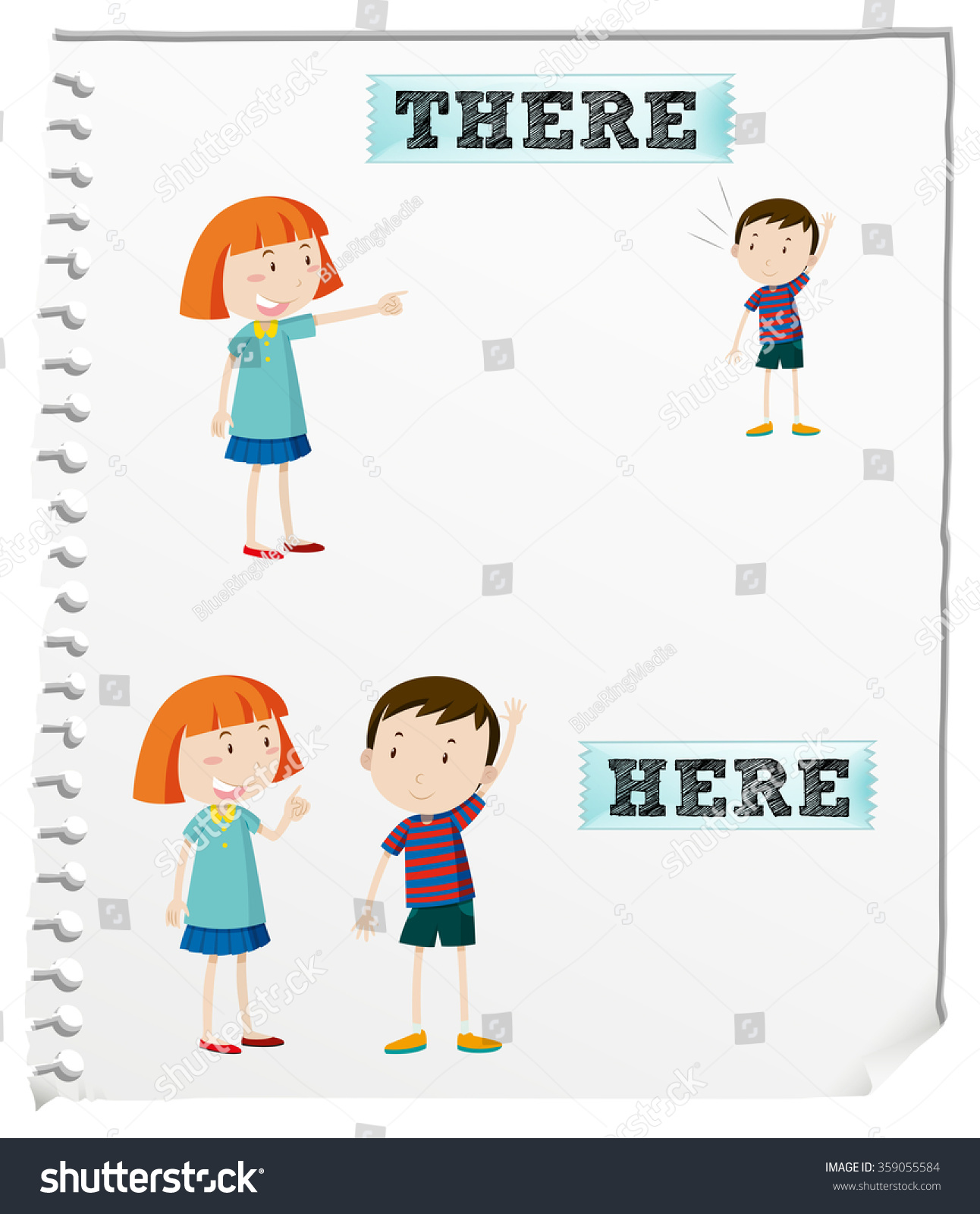 Opposite Words Here There Illustration Stock Vector