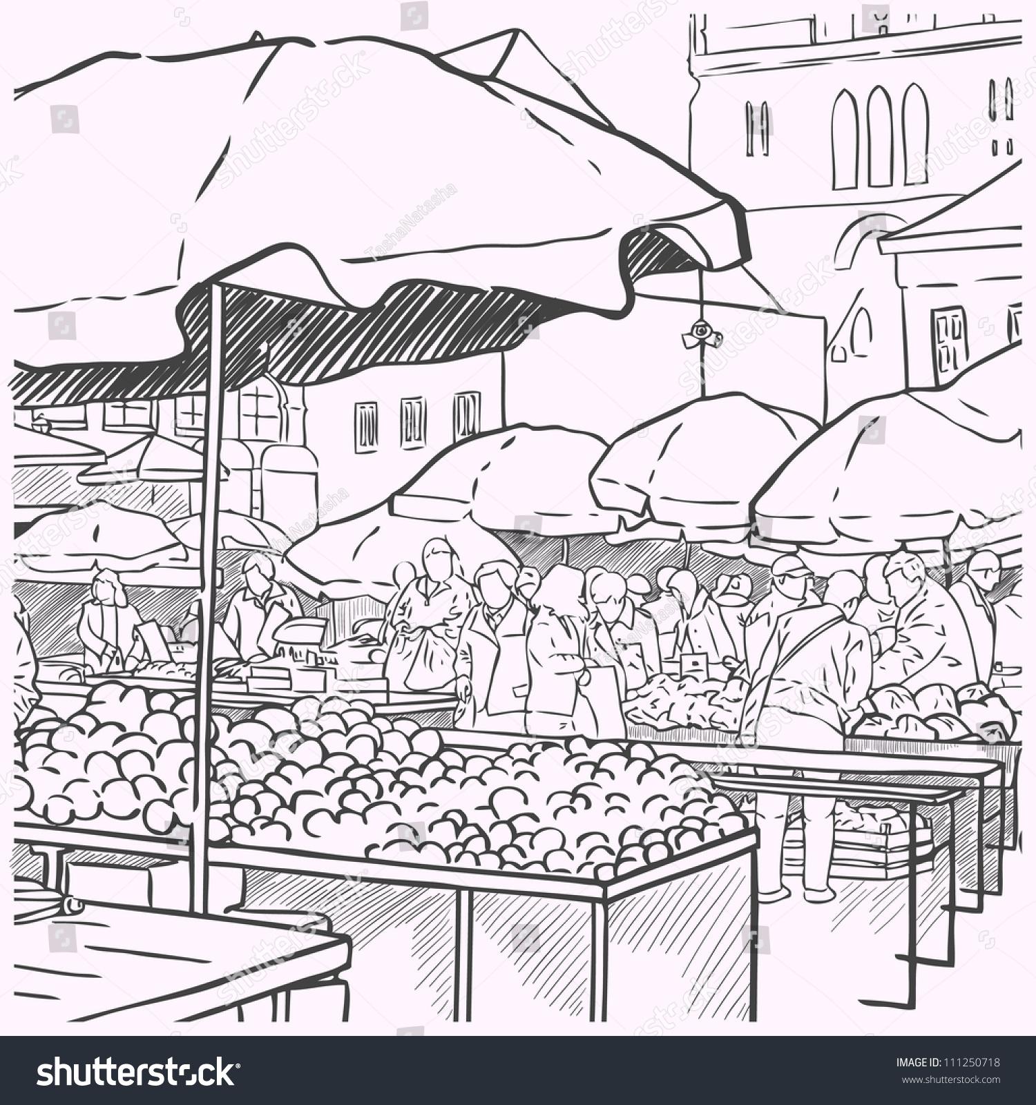 Organic Vegetables Farmers Market Woman Shopping Stock