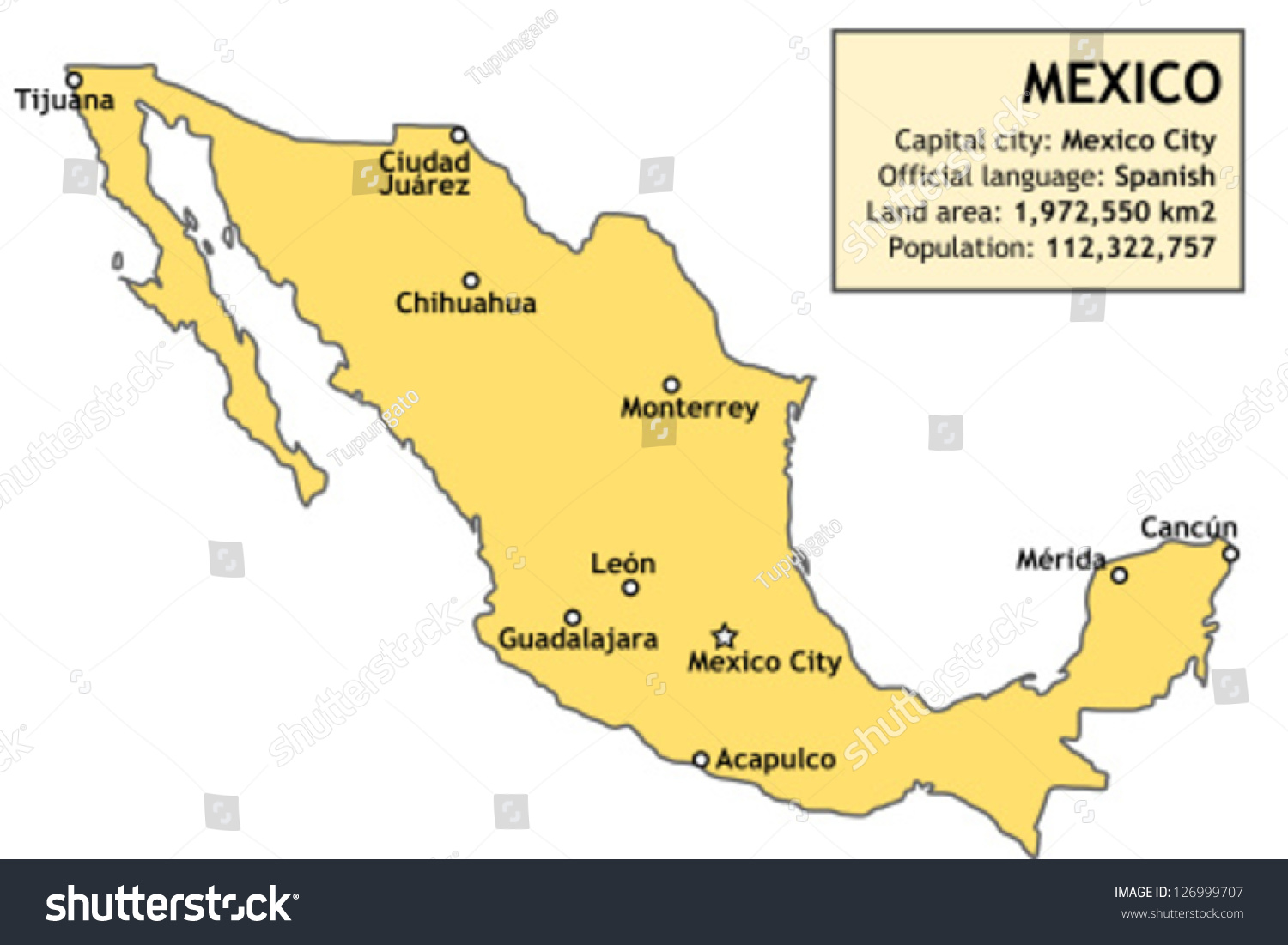 Outline Map Of Mexico With Major Cities And A Basic
