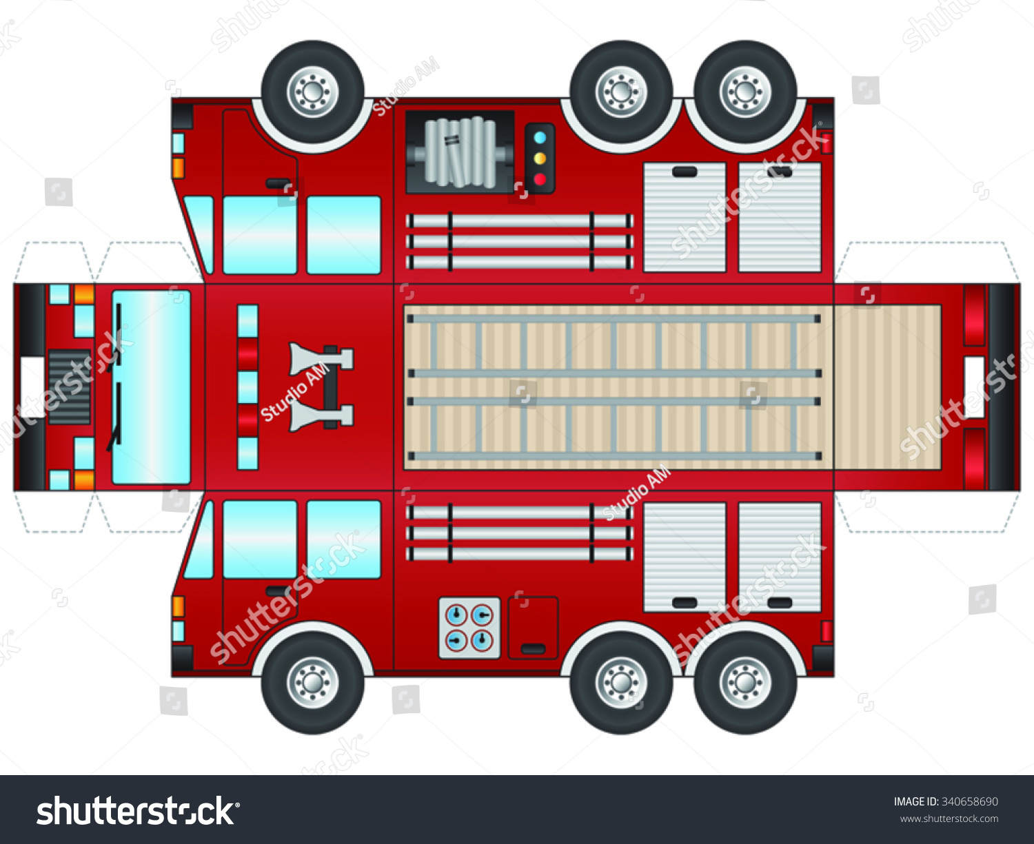 Outline Fire Truck Cut Out Glue Stock Vector