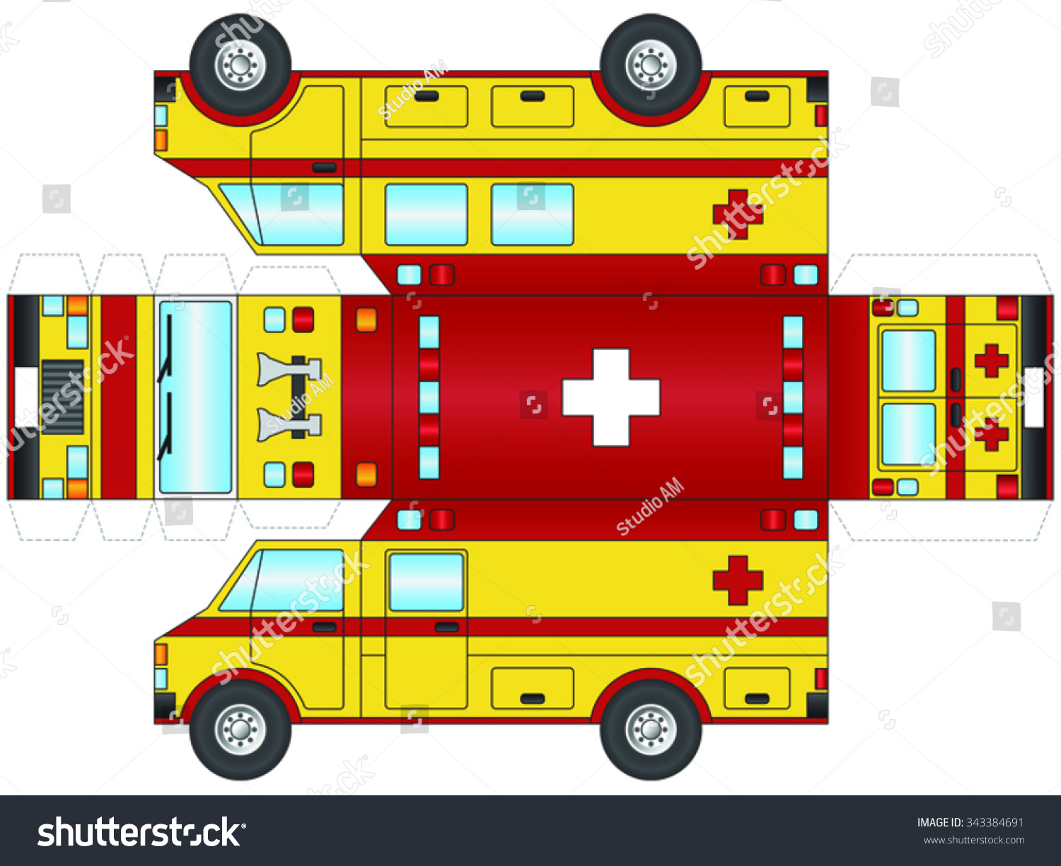 Outline Yellow Ambulance Paramedic Cut Out Stock Vector