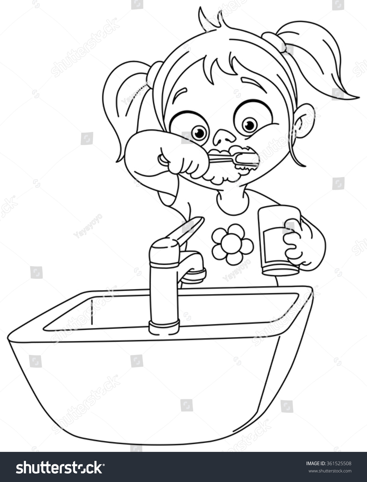 Outlined Young Girl Brushing Her Teeth Stock Vector