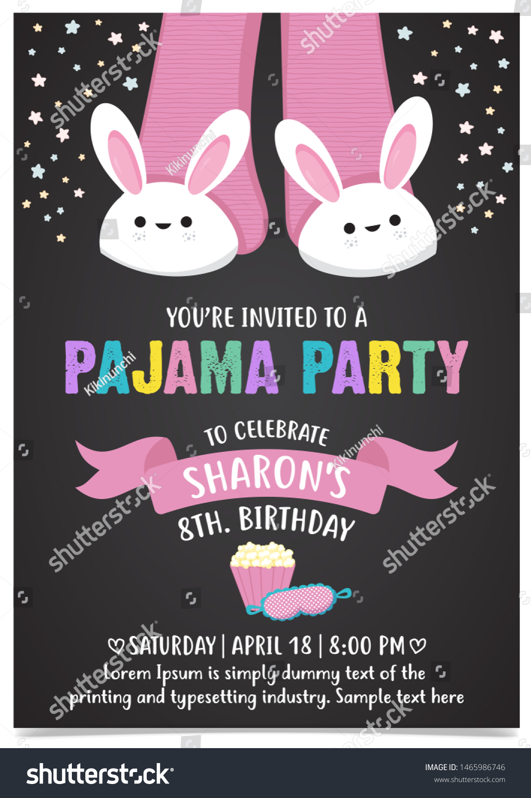 https www shutterstock com image vector pajama party invitation card template 1465986746